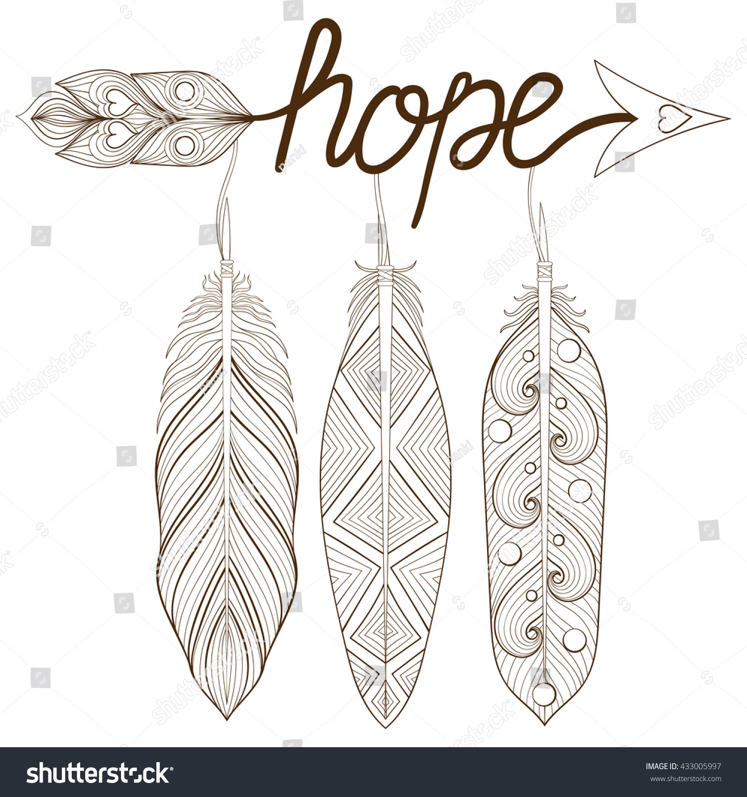 bohemian arrow hand drawn amulet letters stock vector 433005997