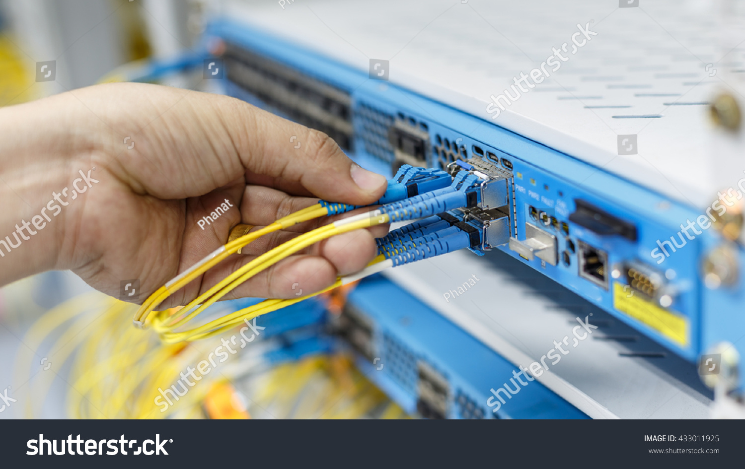 Optic Fiber Cables Connected Data Center Stock Photo (Edit Now ...