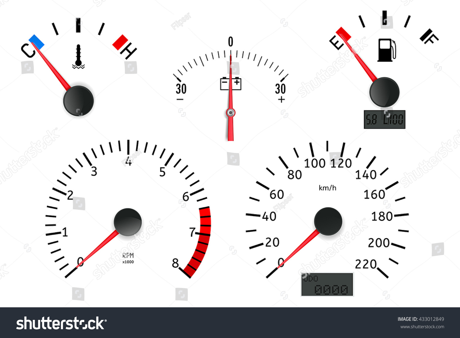 Dashboard Detailed Elements Speedometer Tachometer Fuel Stock - Car signs on dashboardcar dashboard signs speedometer tachometer fuel and temperature