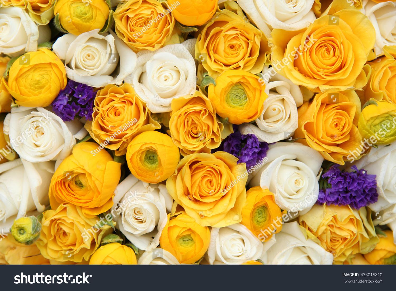 Wedding Flowers Yellow White Touch Purple Stock Photo Edit Now