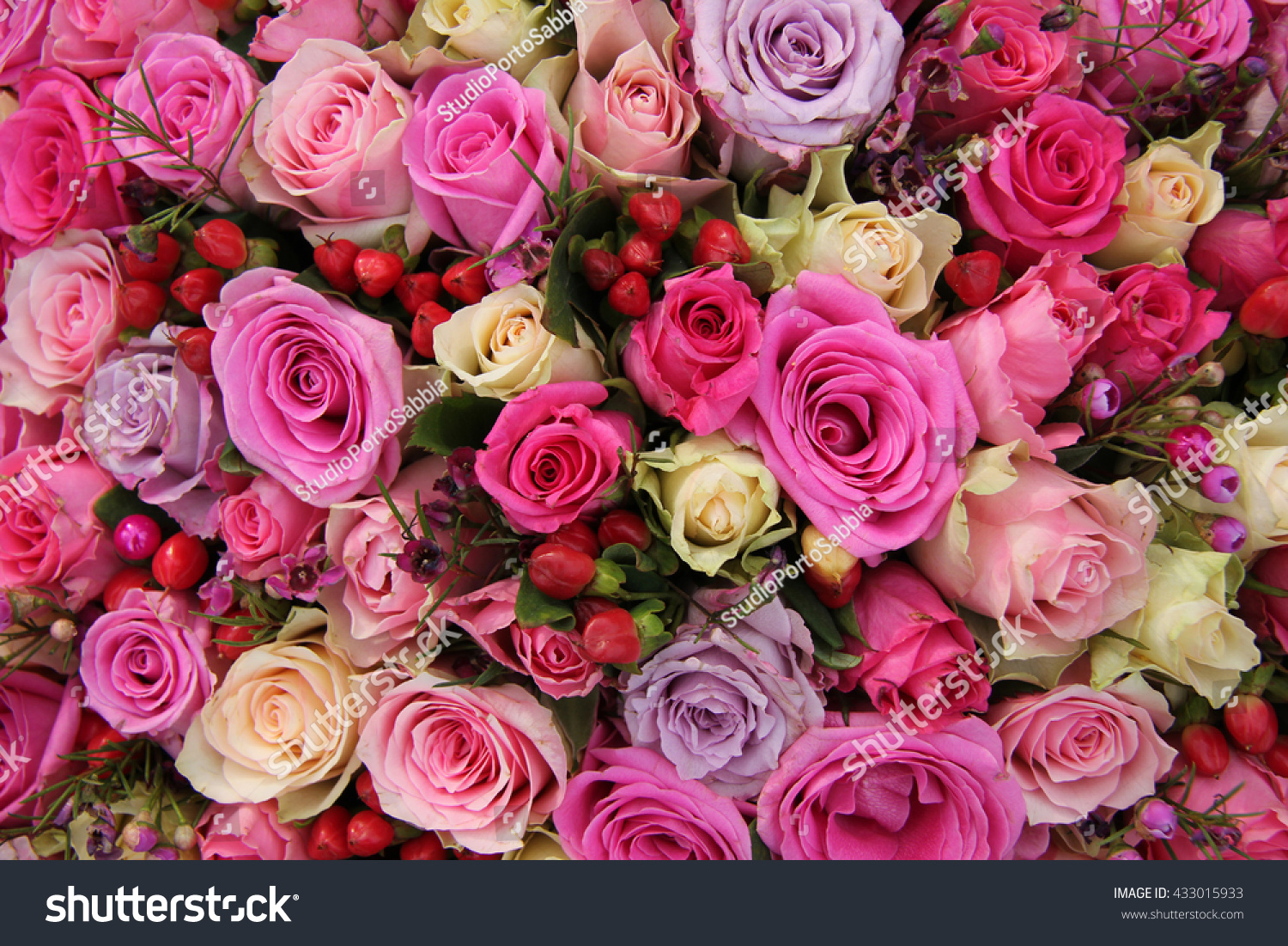 Various Shades Pink Roses Wedding Centerpiece Stock Photo (Edit Now ...
