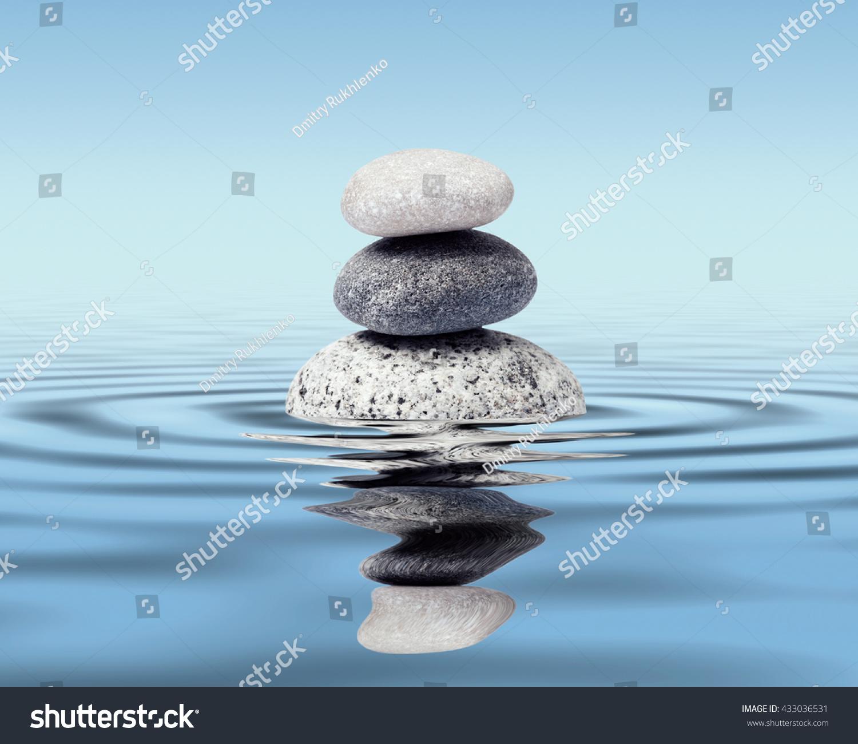 Relax Stone: Zen Stones Water Reflection Peace Balance Stock Photo