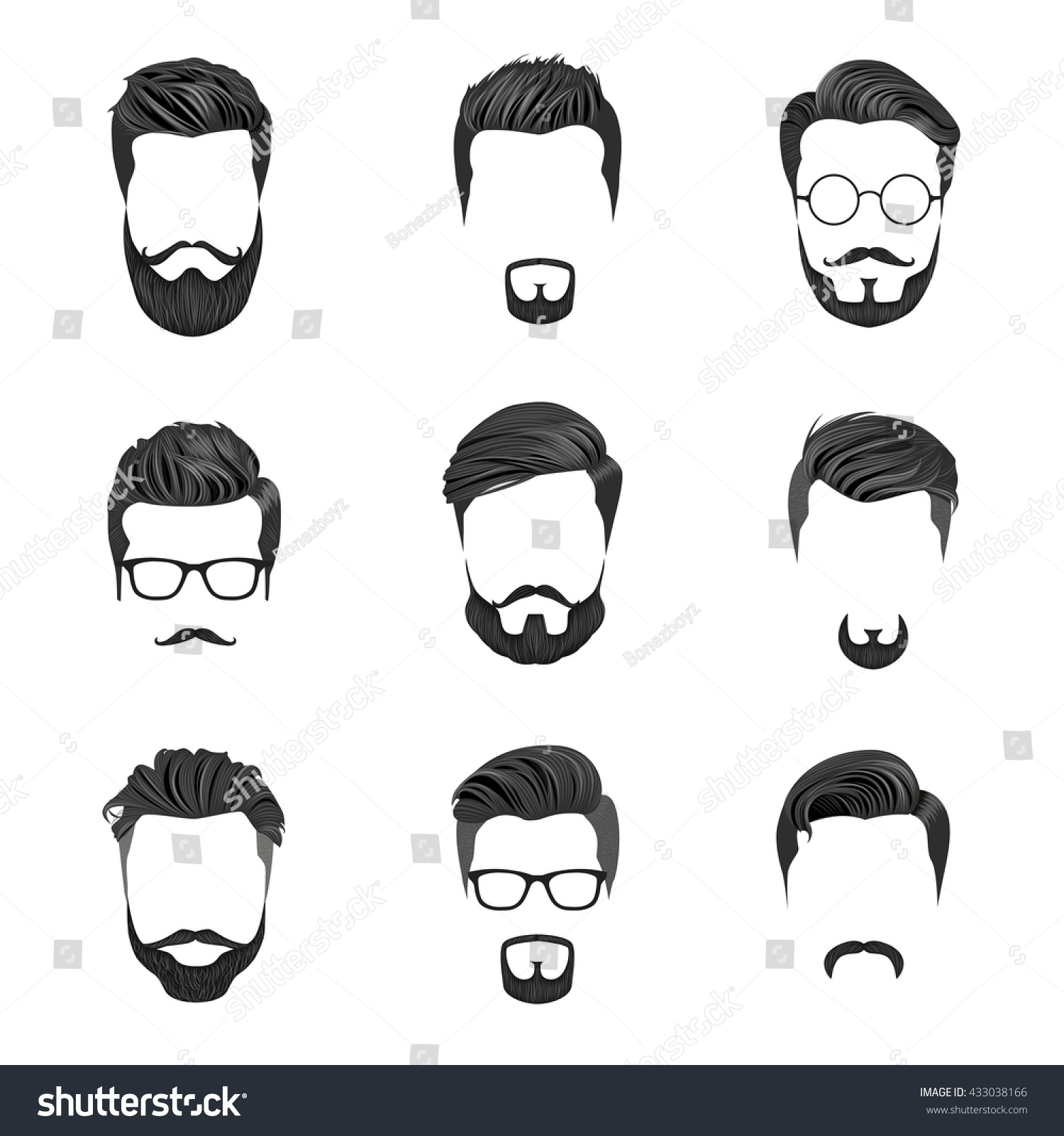 Hipster Hair Mustaches Beards Hipster Style Stock Vector ...