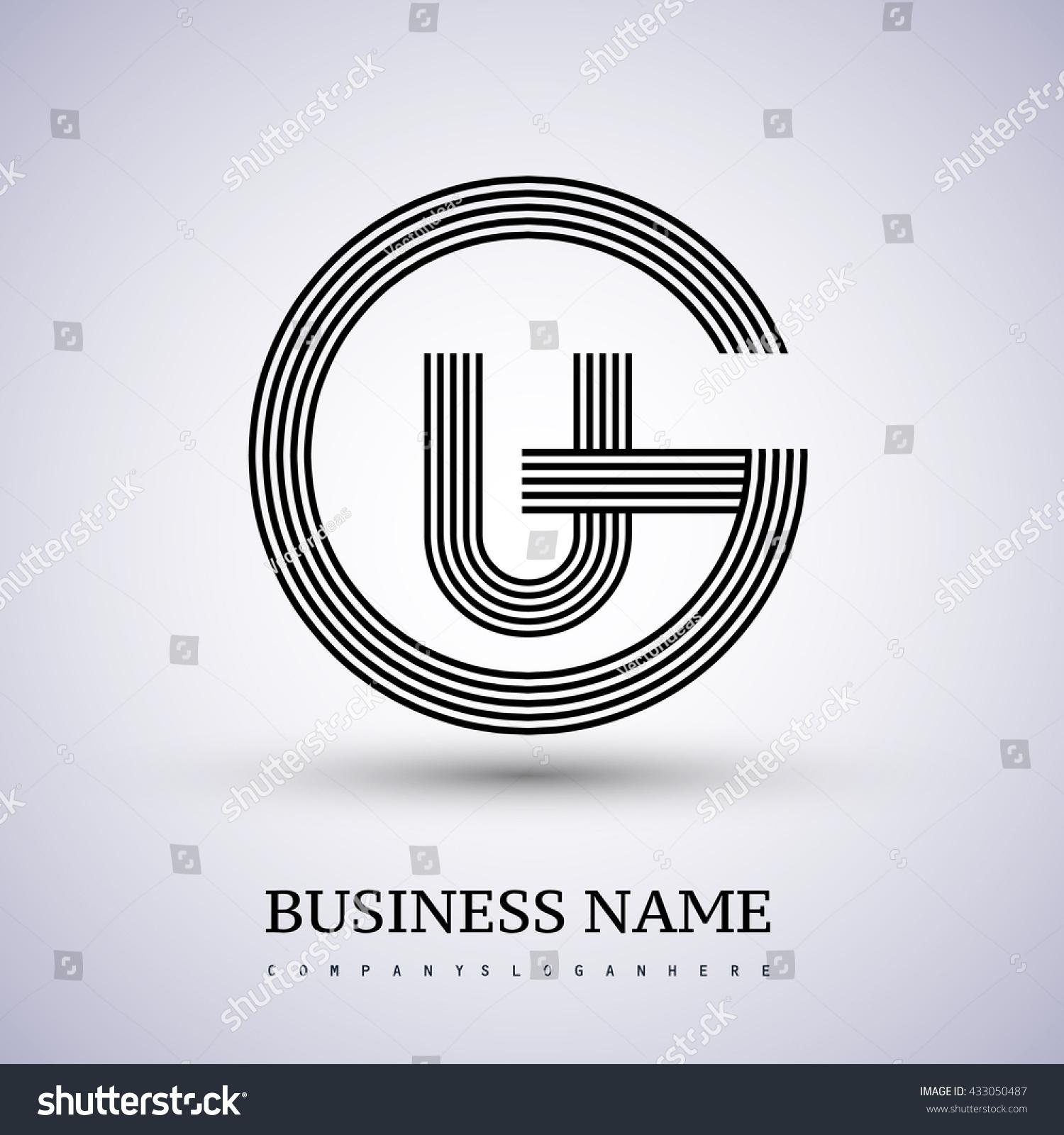 letter gu ug linked logo design stock vector royalty free Cool G Logo letter gu or ug linked logo design circle g shape elegant black colored symbol