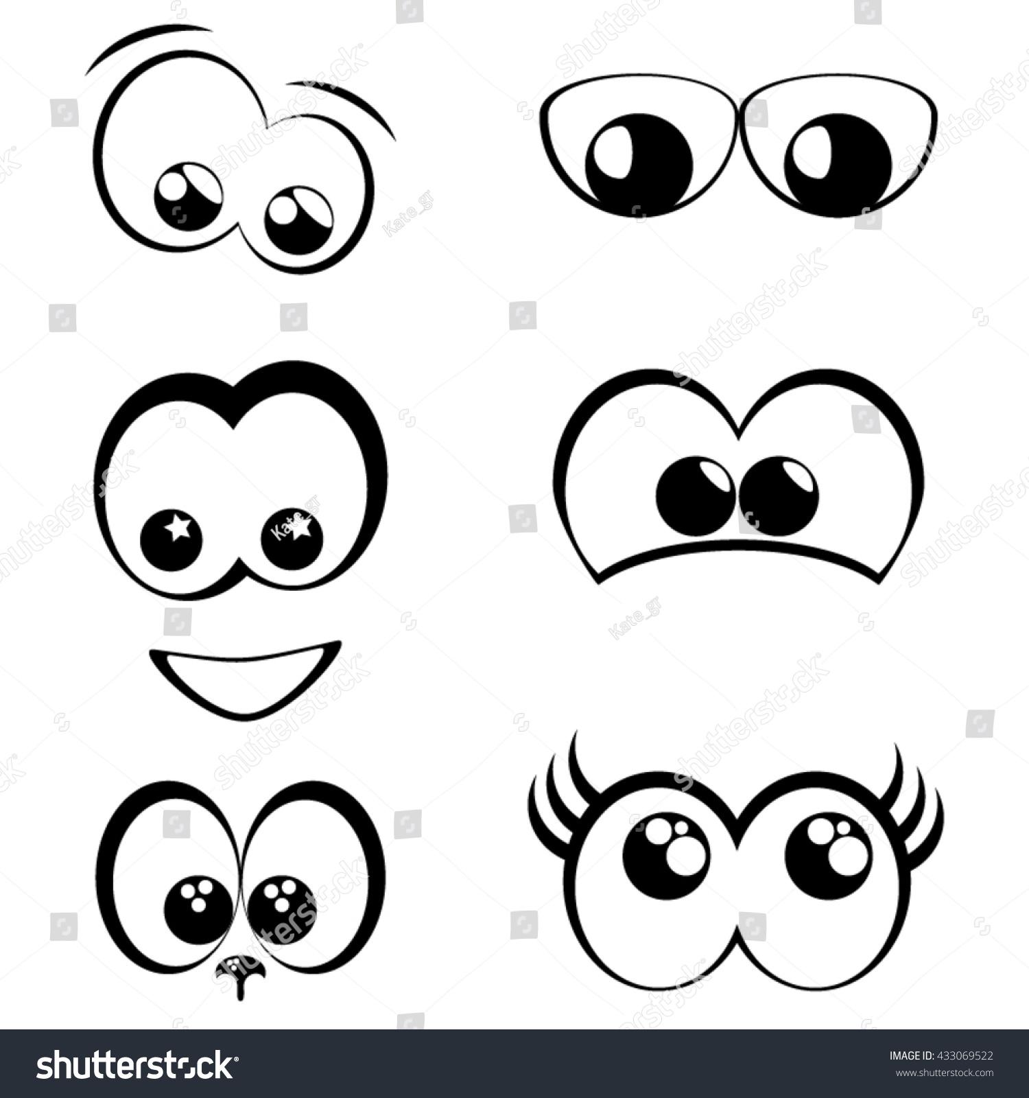 Cartoon Eyes Black White Set Stock Vector 433069522 Shutterstock