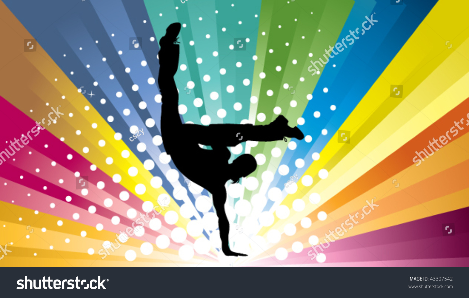 Silhouette Dance Music Abstract Background: Abstract Colorful Background Street Dance Stock Vector