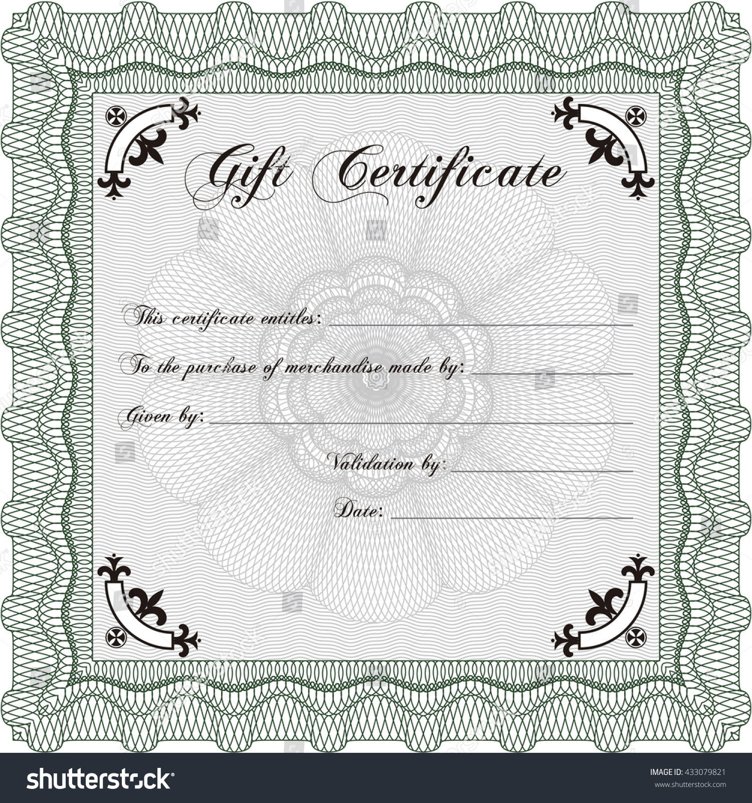 Gift Certificate Template Linear Background Beauty Stock Vector - Beauty gift certificate template