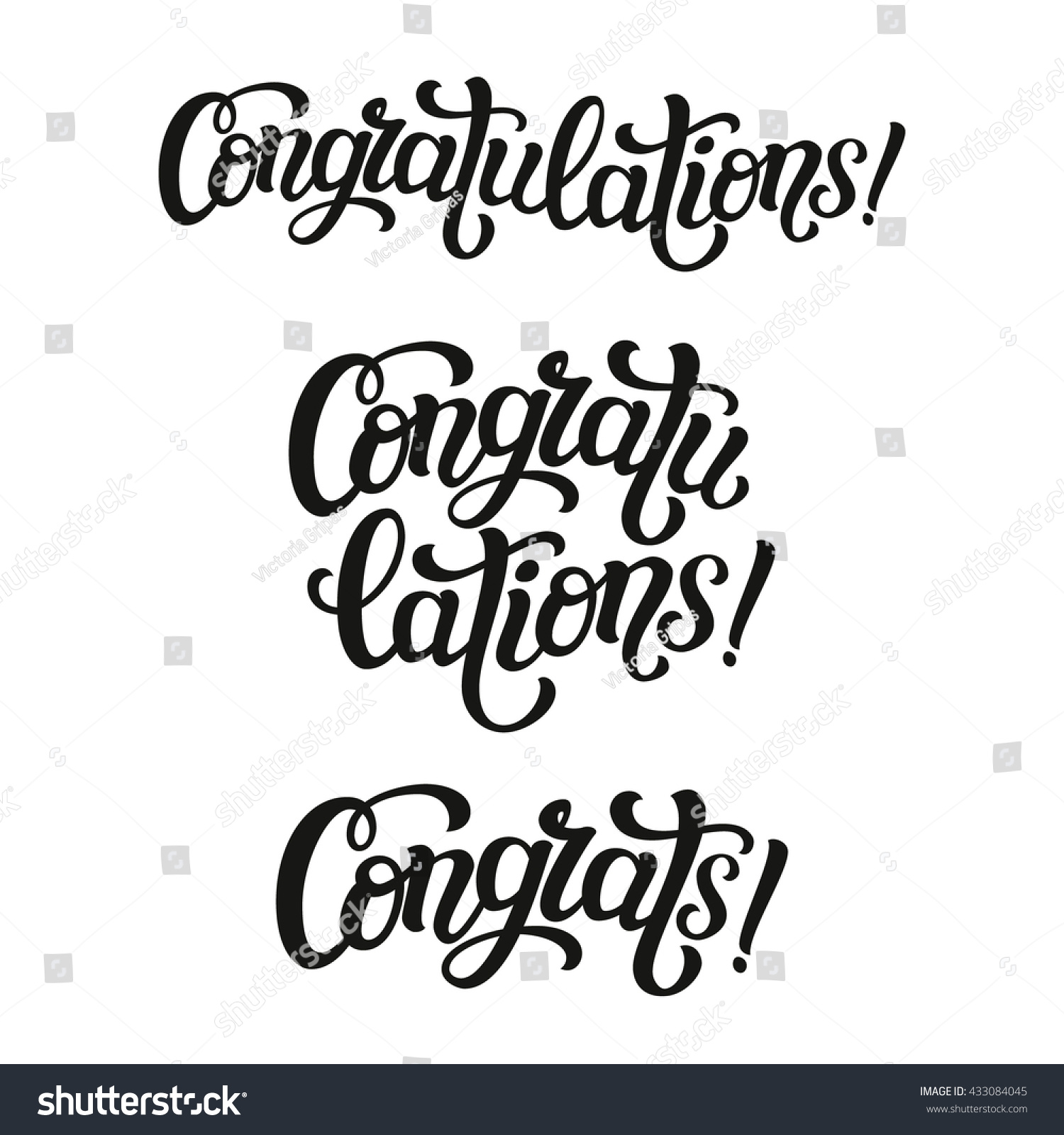 Congratulations Hand Lettering Typography Word Birthday Stock Vector