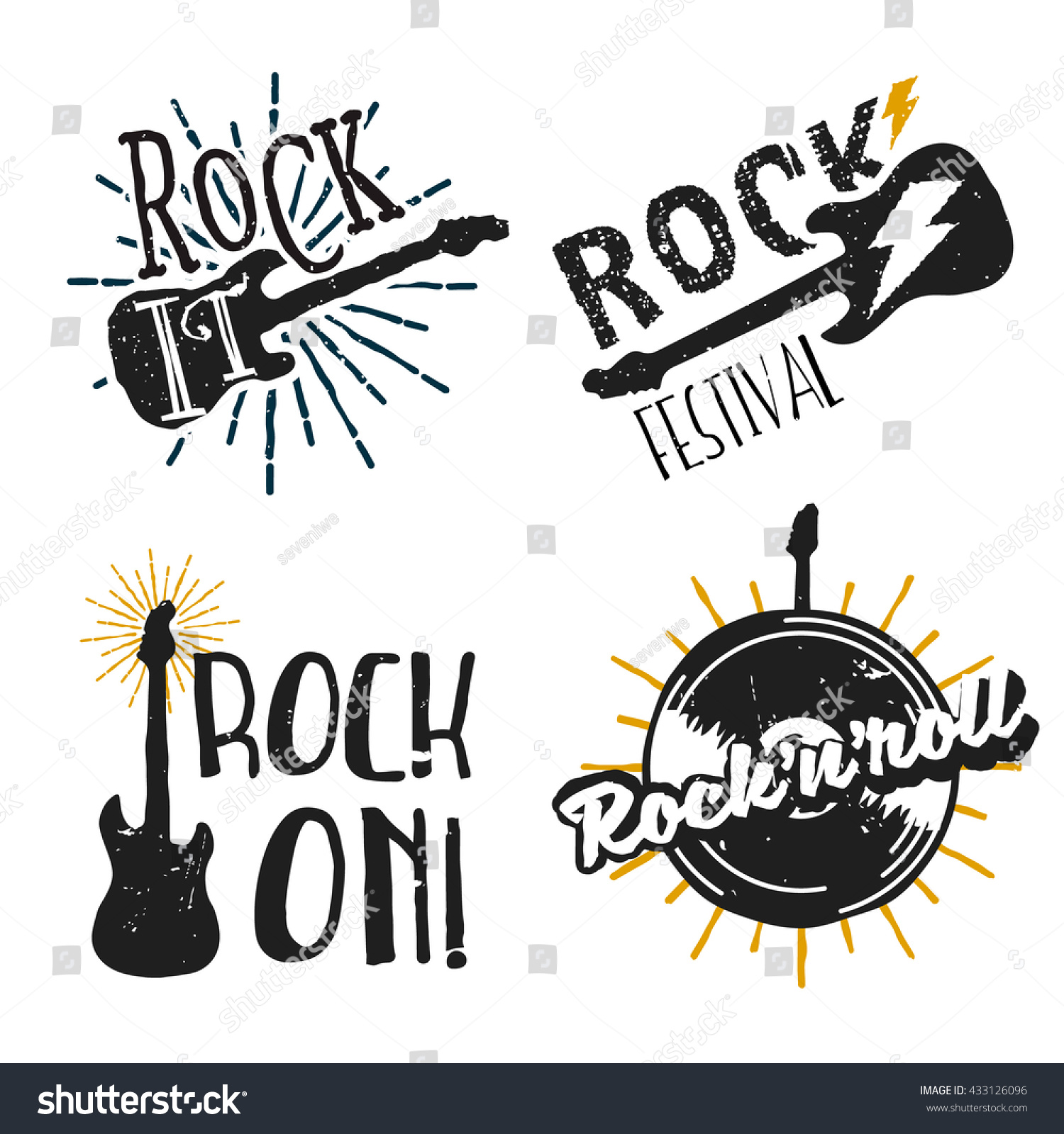 Set rock themed logos icons badges stock vector