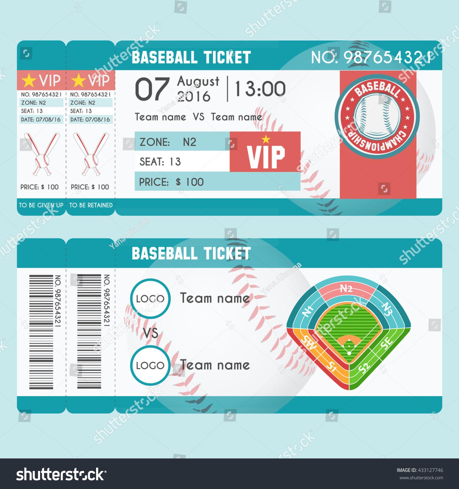 ticket modern design baseball ball bat stock vector royalty free