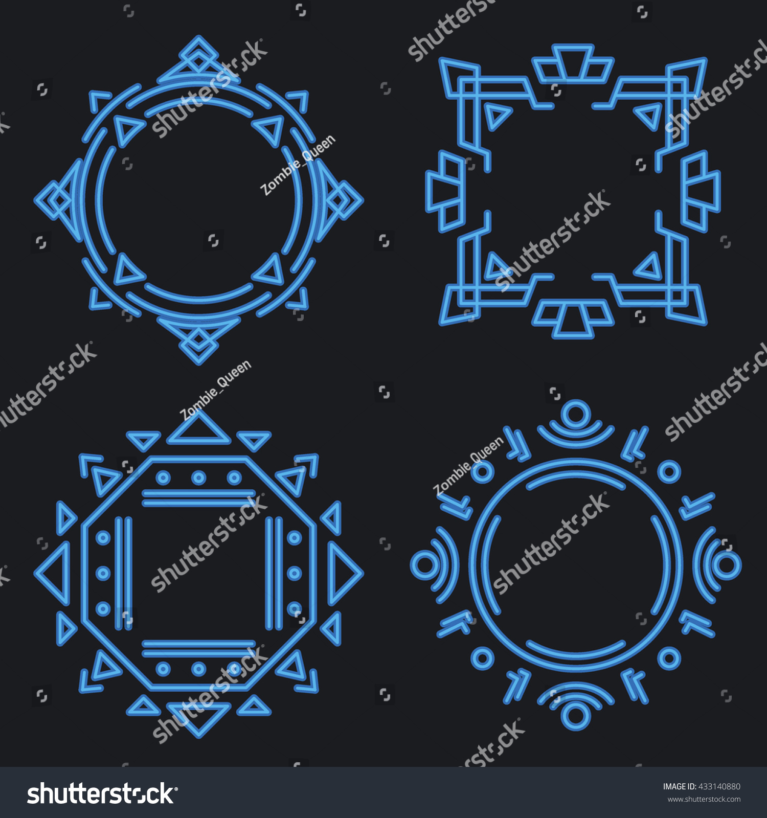 Thin line neon frames emblems badges stock vector 433140880 thin line neon frames for emblems and badges element or sign label logo template buycottarizona Choice Image