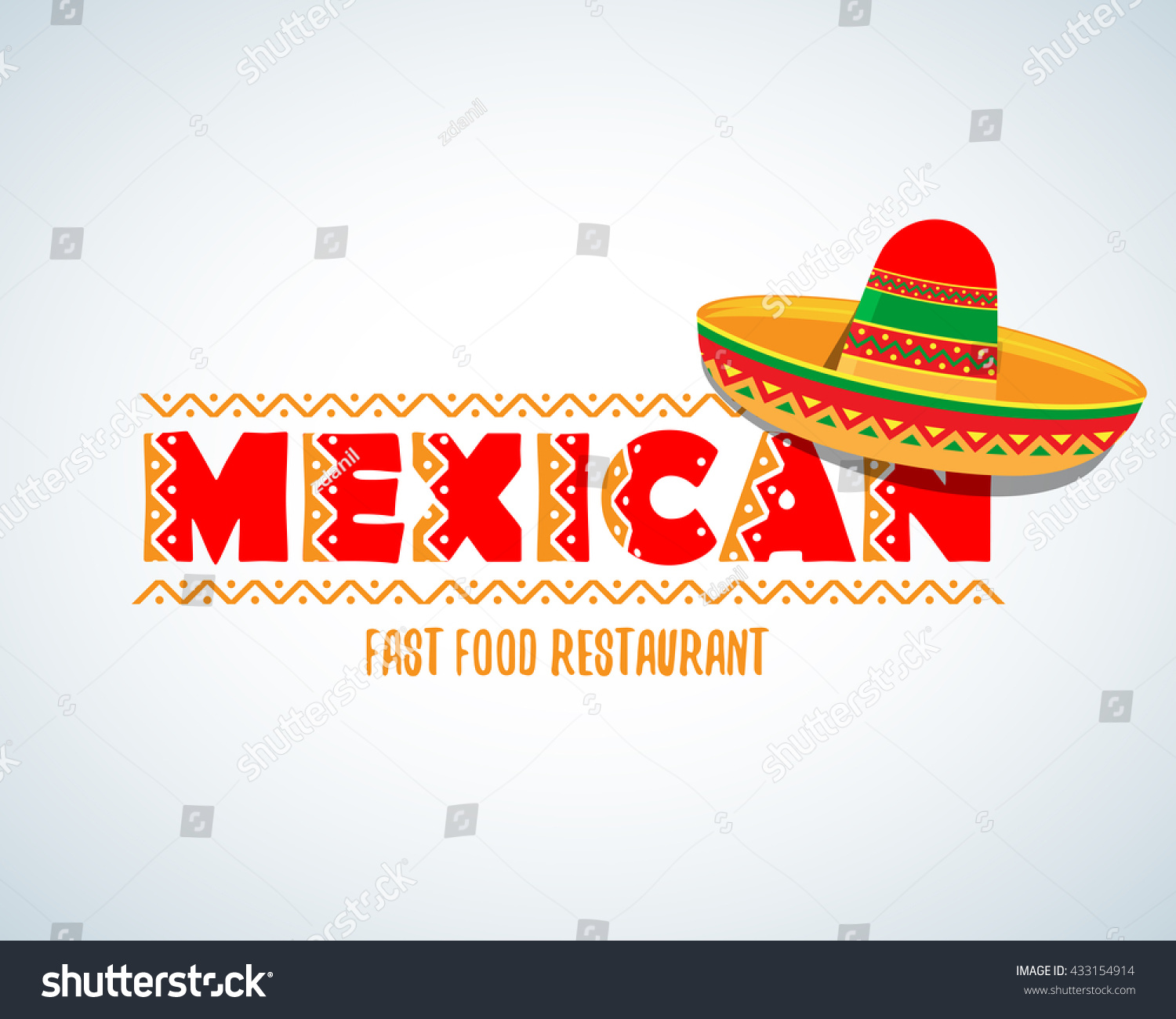 Italian Restaurant Logo With Flag: Mexican Food Logo Mexican Fast Food Stock Vector 433154914