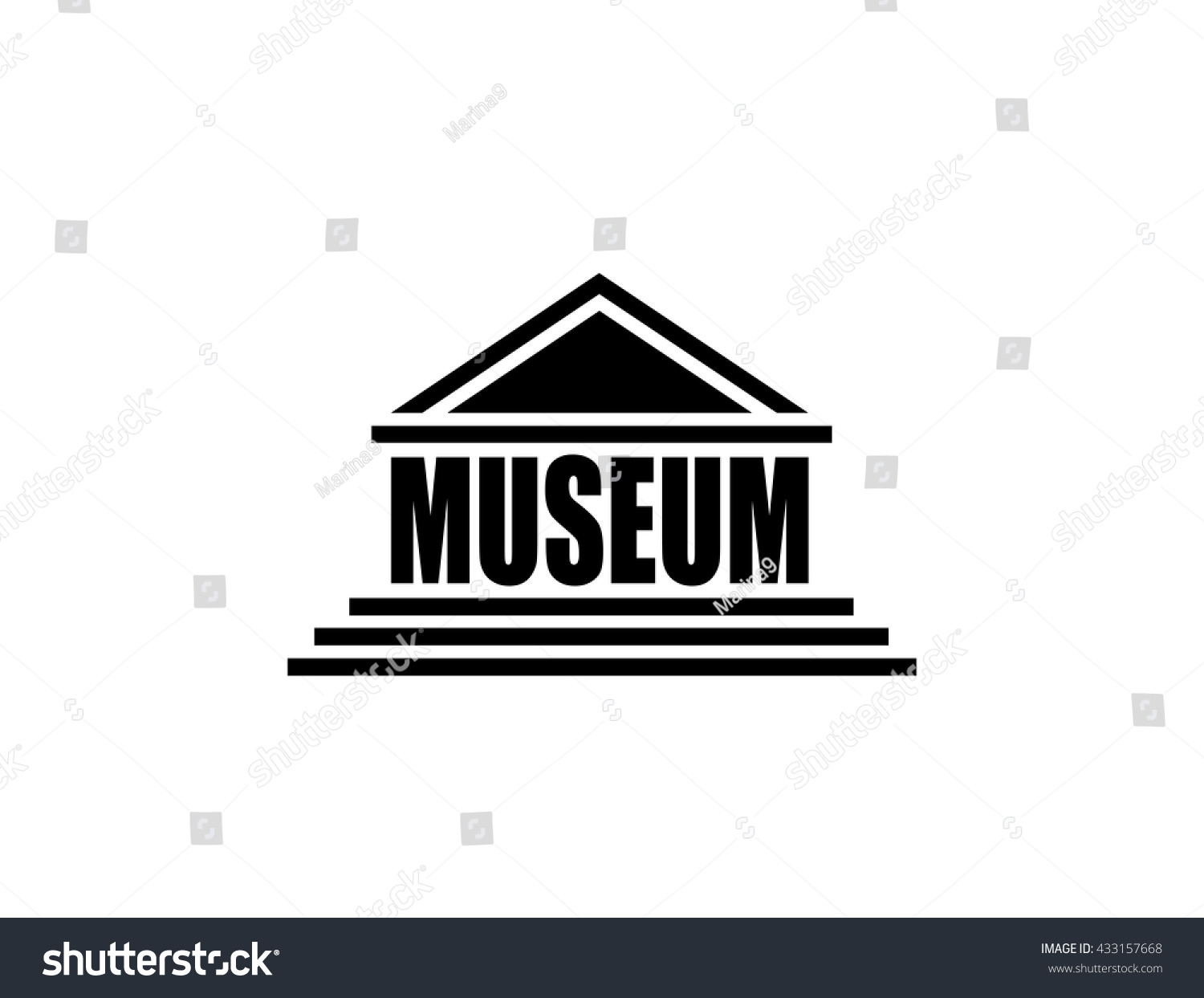Museum icon isolated on white background stock vector for House music symbol