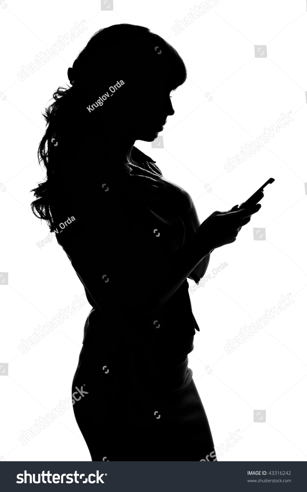 Stock Photo Silhouette Woman With Phone On White Background Using