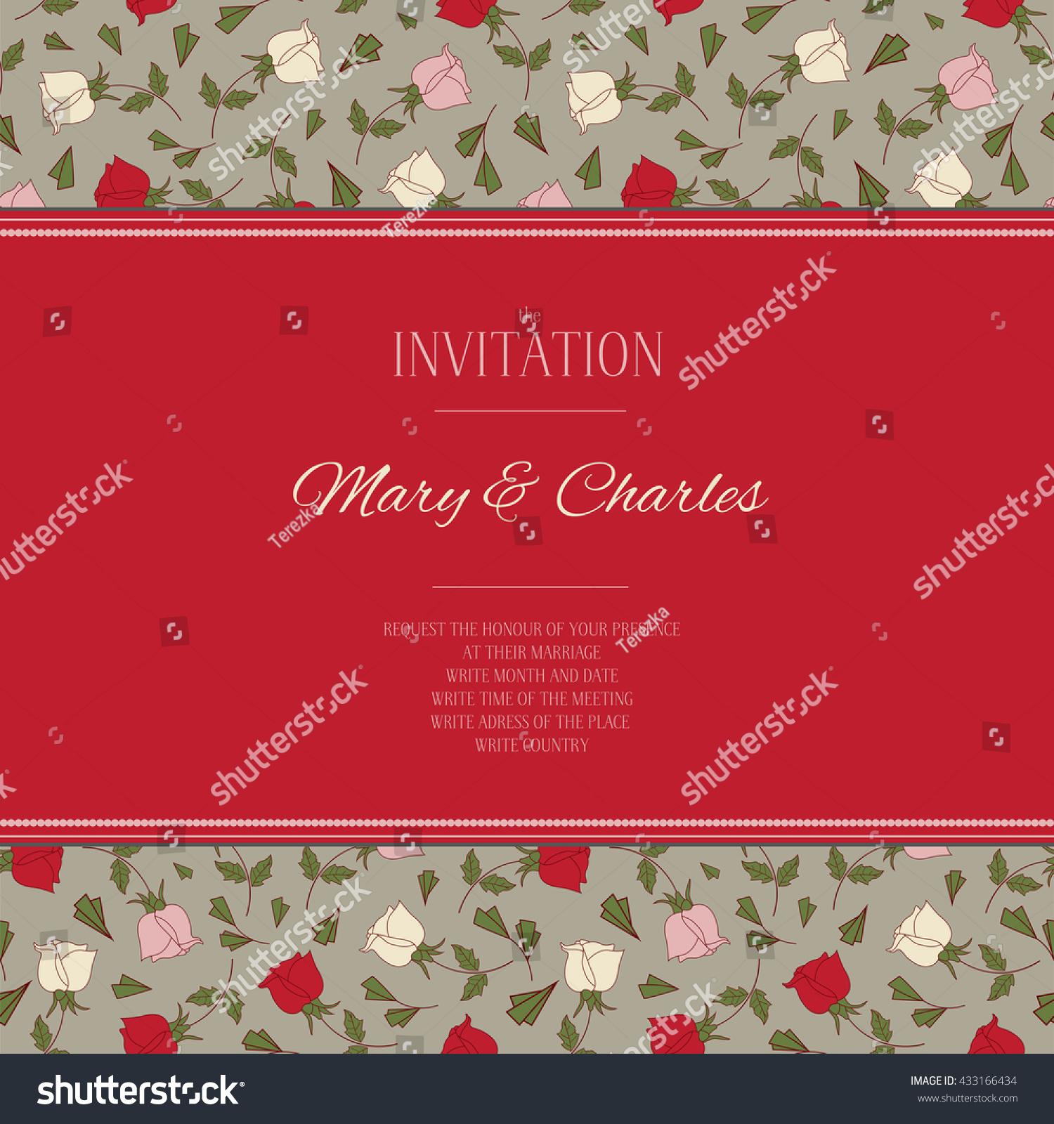 Color Vector Wedding Invitation Tender Bright Stock Vector (Royalty ...