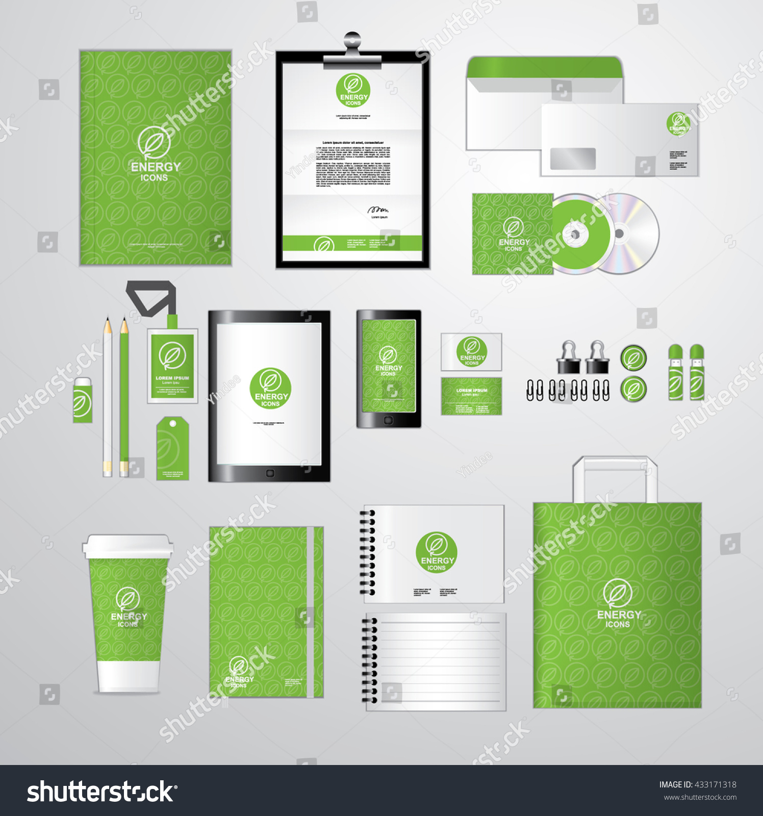Green Corporate Identity Template Your Business Stock Vector ...
