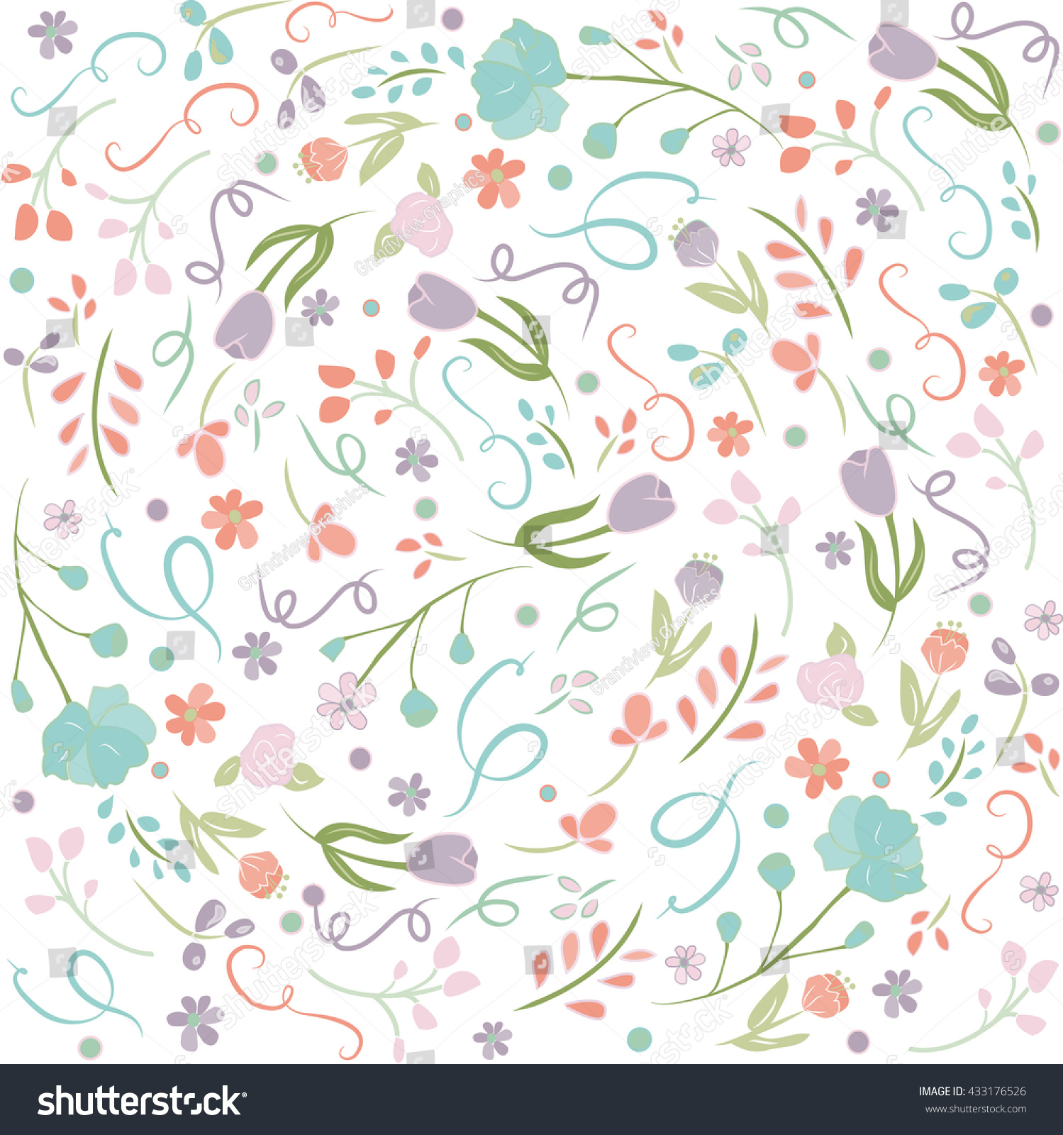 Pretty Flowers Background Irregular Floral Wallpaper Stock Vector