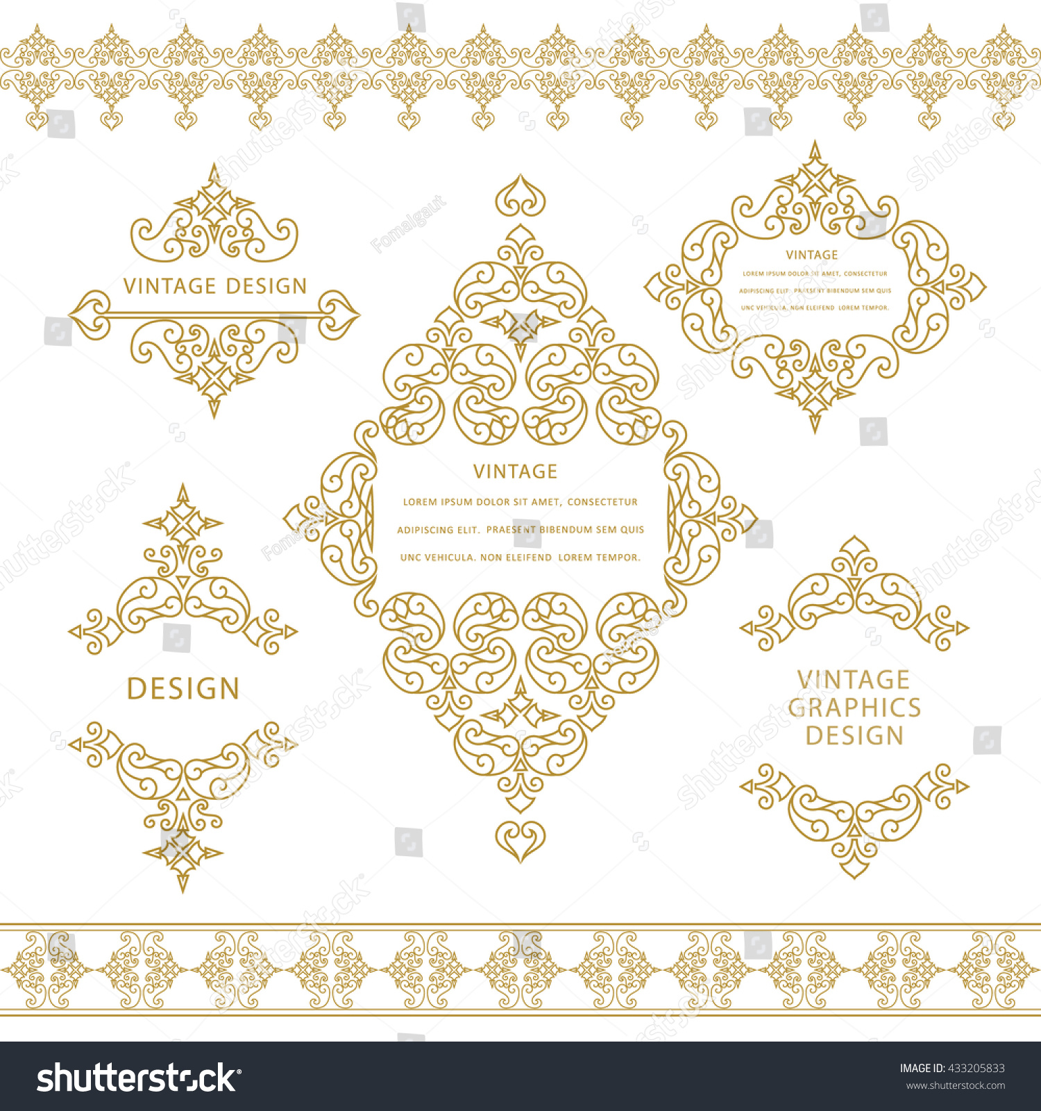 Frame Design Line Art : Set line art frames borders design stock vector