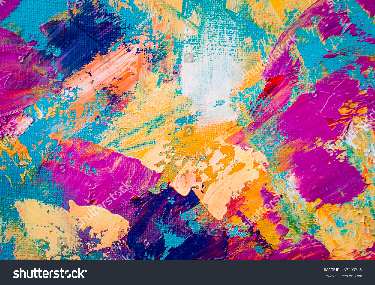 hand drawn oil painting abstract art stock illustration 433209346