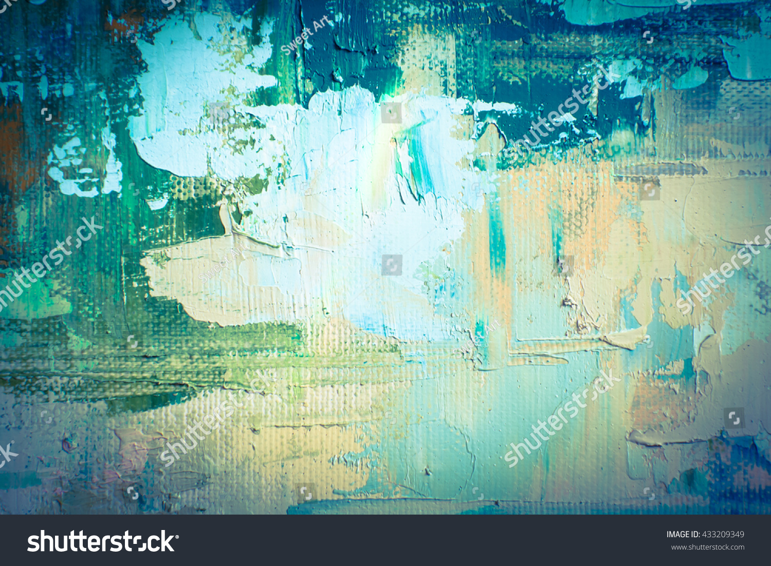 hand drawn oil painting abstract art stock illustration 433209349