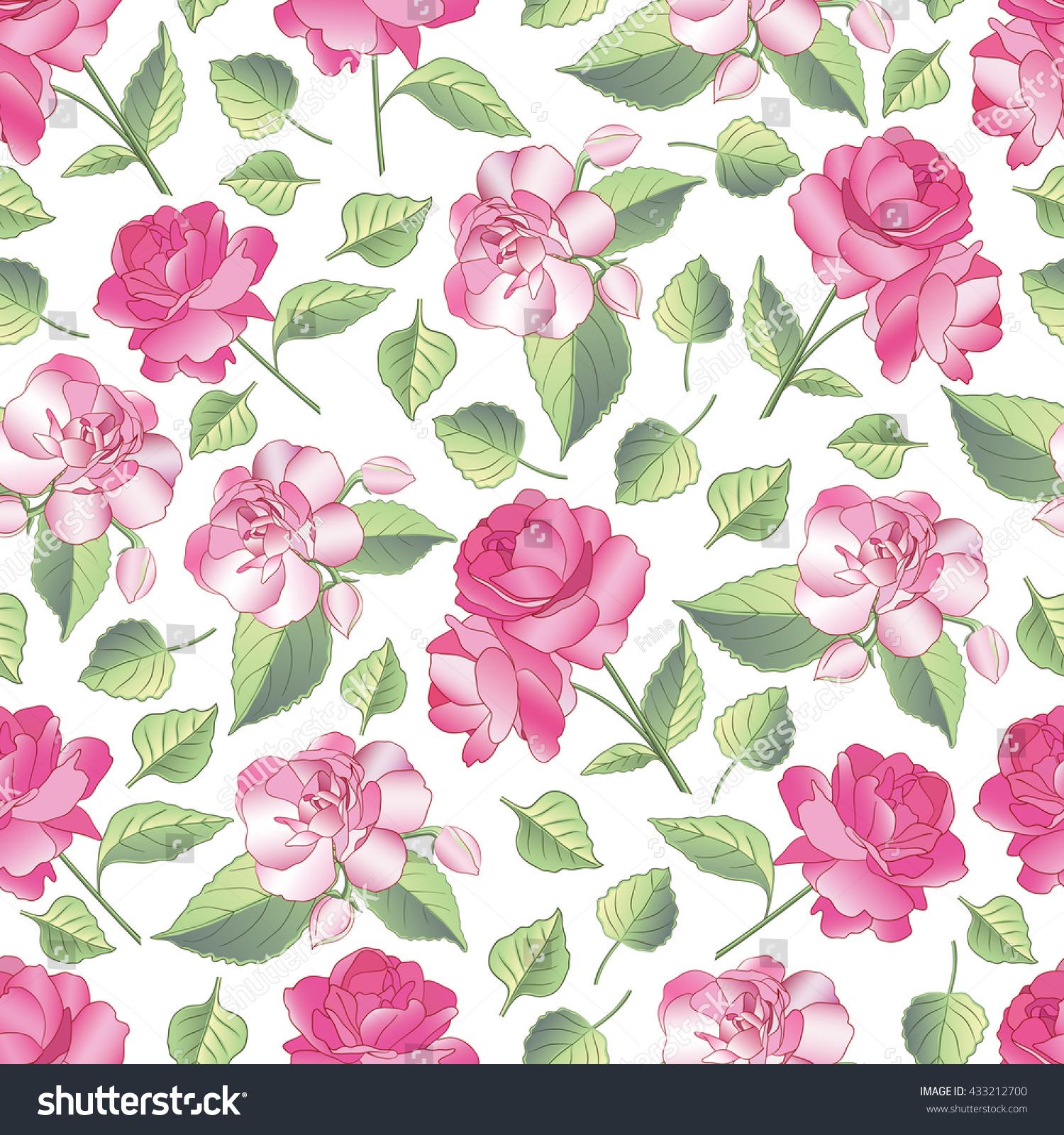 Vector Seamless Pattern Beautiful Blooming Flowers Stock Vector