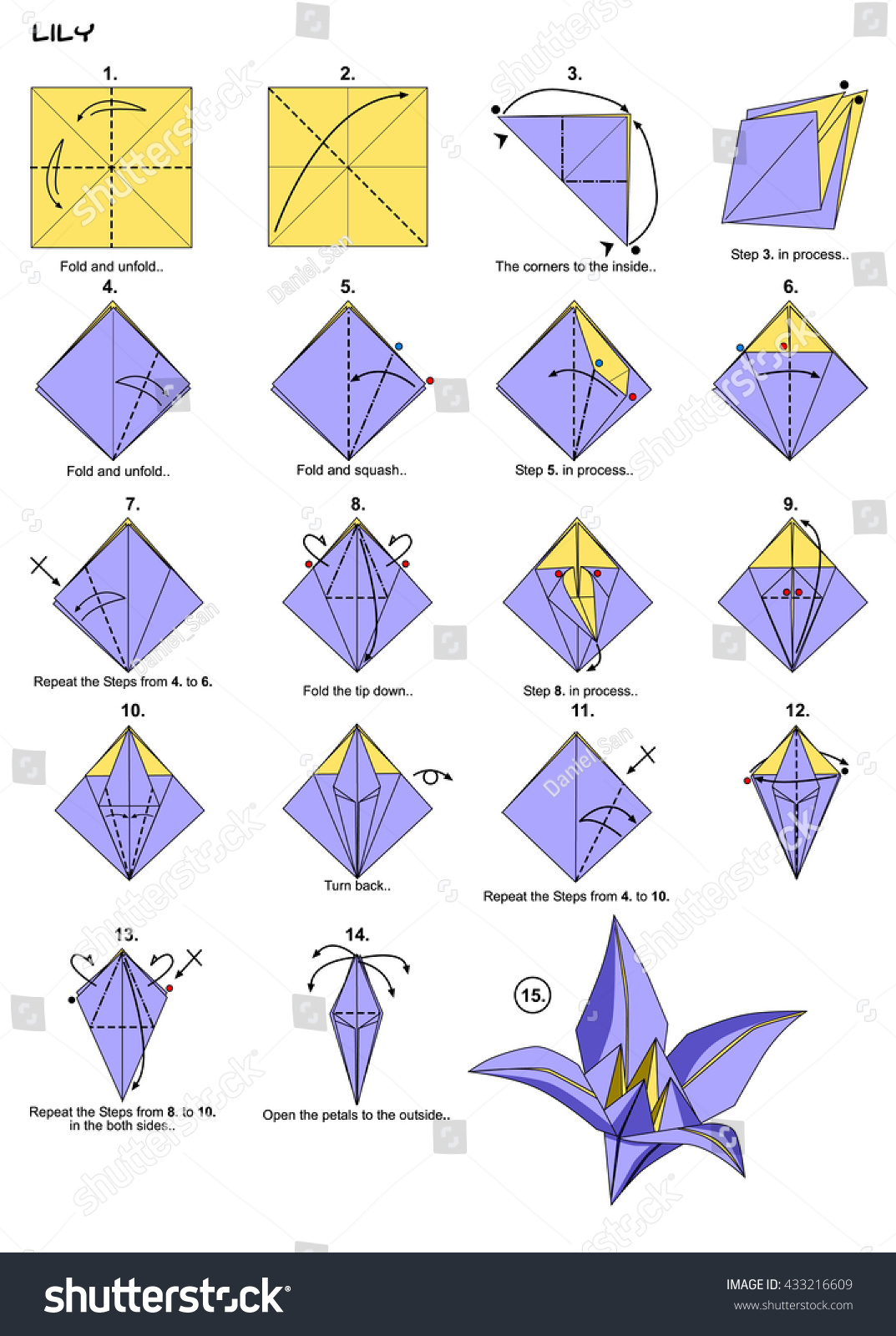 Origami Flower Lily Instructions Steps Stock Illustration 433216609
