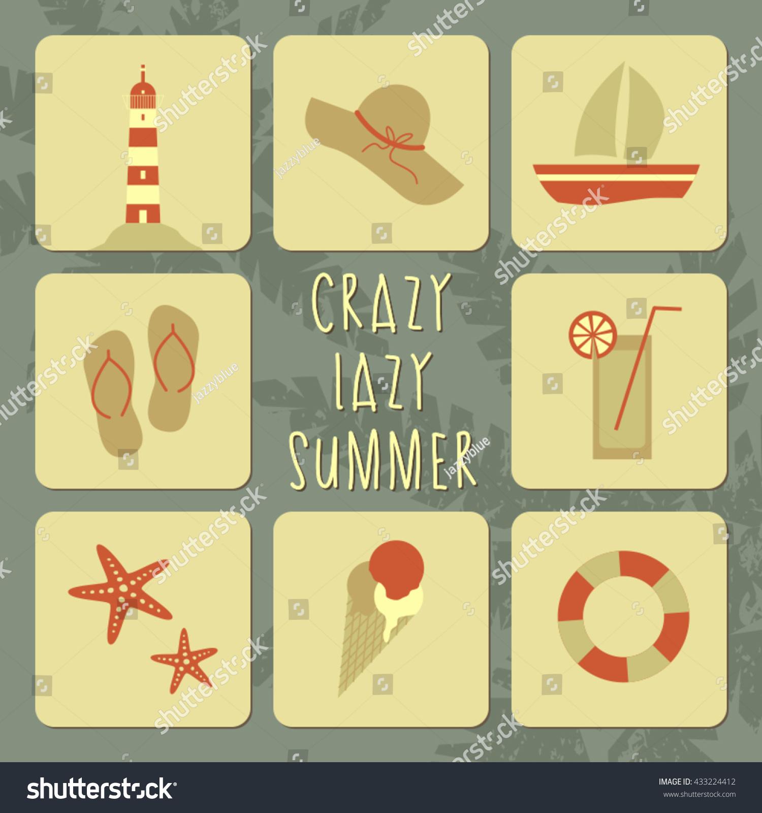 Vector Illustration Summer Poster Summer Symbols Stock Vector