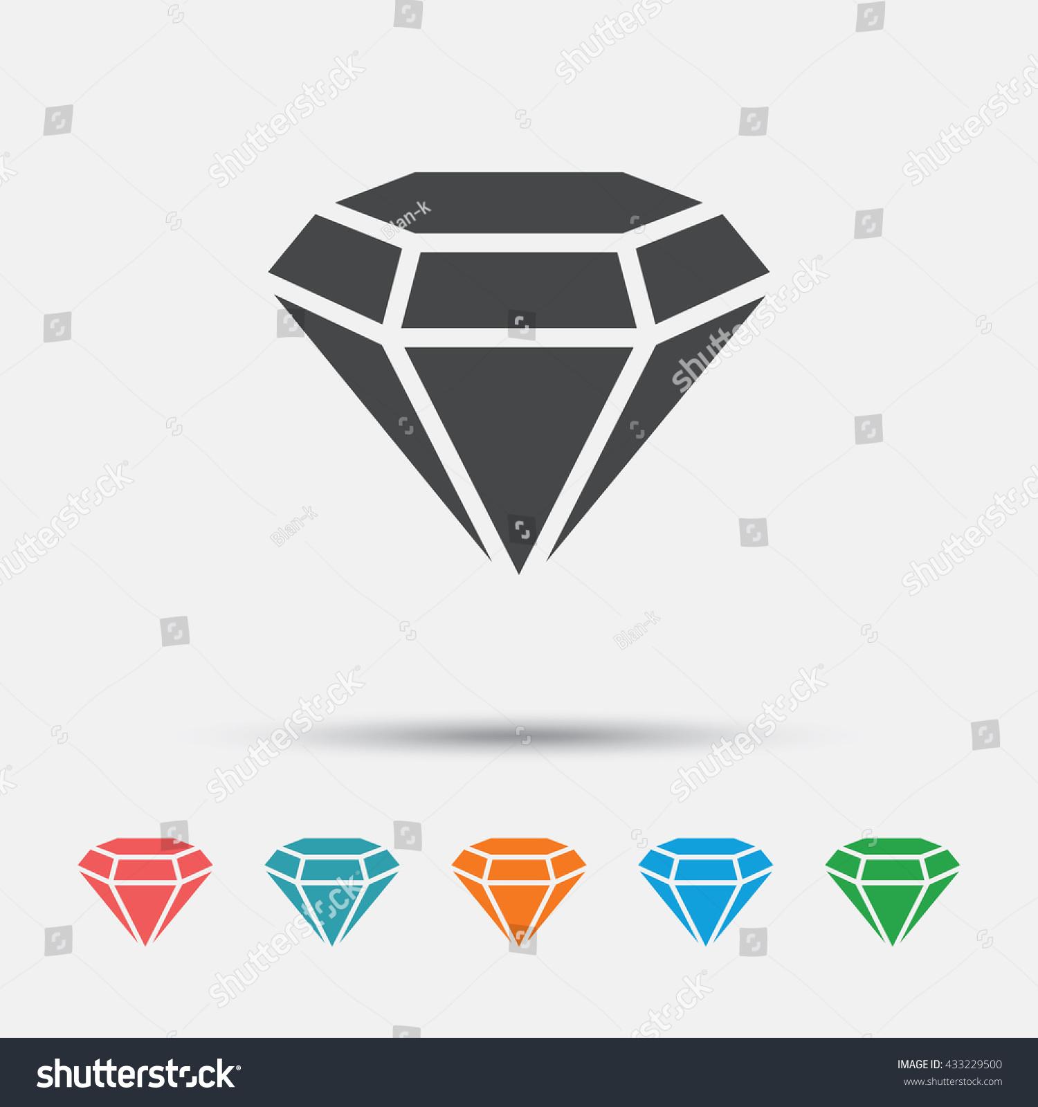 Crystal Gems Logo Icon: Diamond Sign Icon Jewelry Symbol Gem Stock Vector