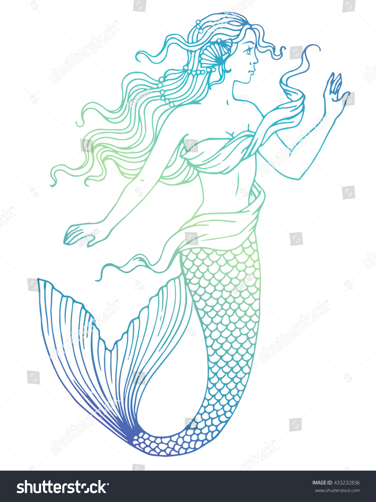 Hand painted mermaid watercolor vector silhouette stock vector - Beautiful Mermaid Outline Vector Hand Drawn Illustration On Watercolor Background
