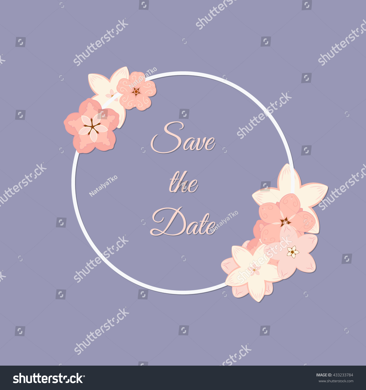Round frame with decorative branch vector illustration stock - Vector Abstract Illustration Of Decorative Sakura Round Frame Save The Date For Wedding