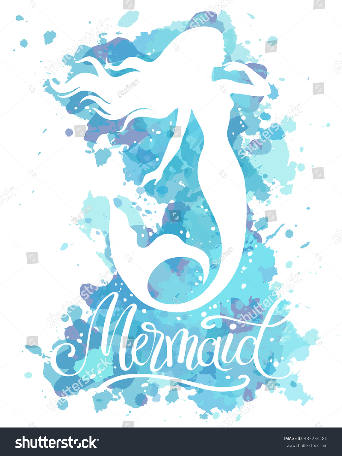 Hand painted mermaid watercolor vector silhouette stock vector - Mermaid Vector Silhouette Illustration On Watercolor Background