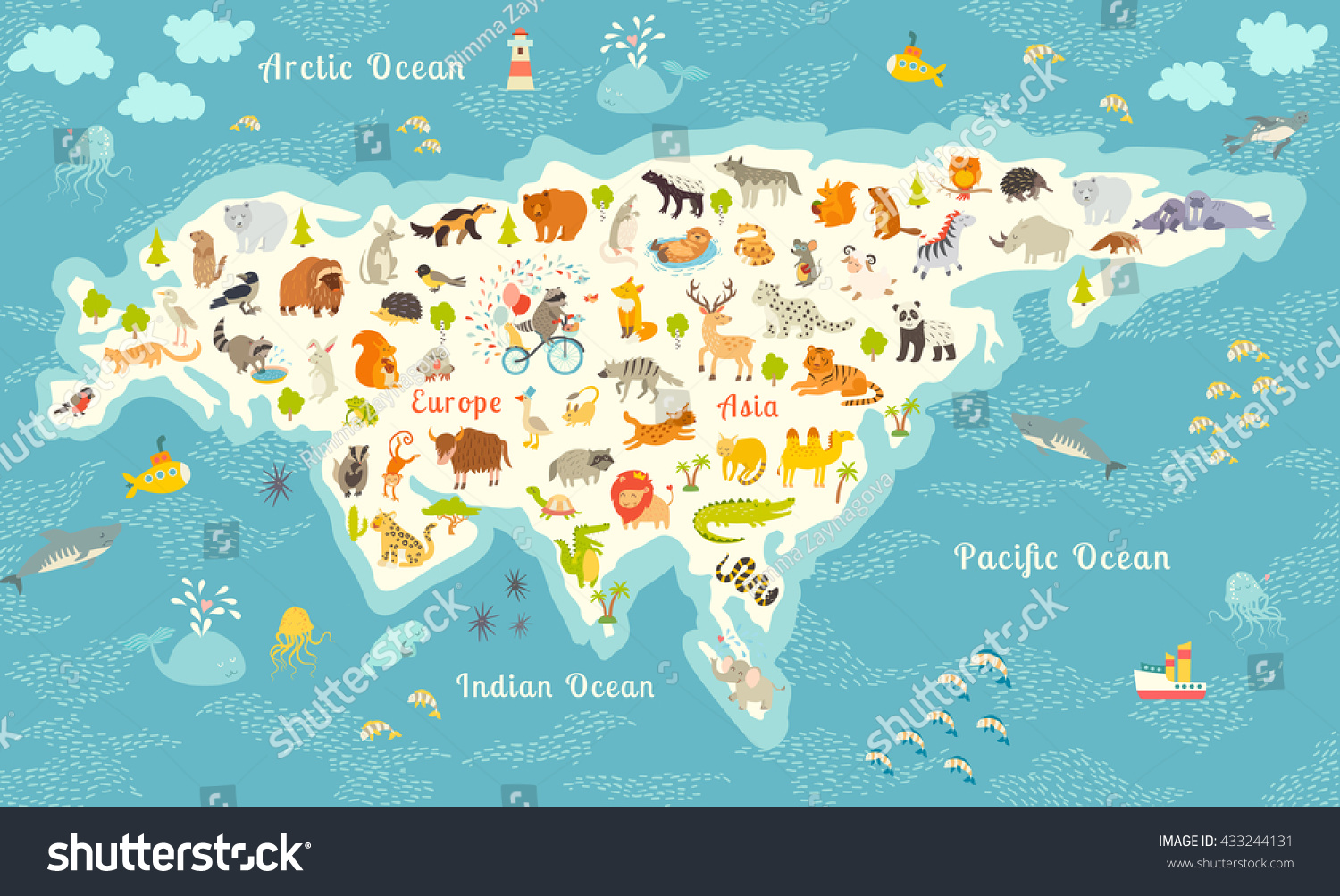 Animals World Map North America Colorful Stock Illustration - World map north america