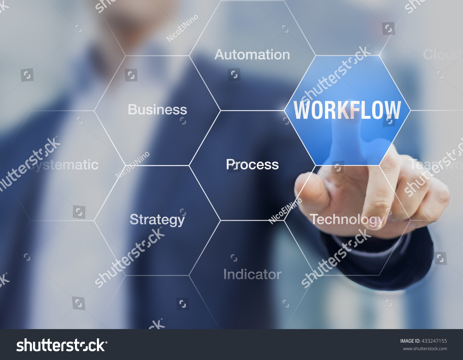 Automation Technology: Concept About Workflow Improve Efficiency Process Stock