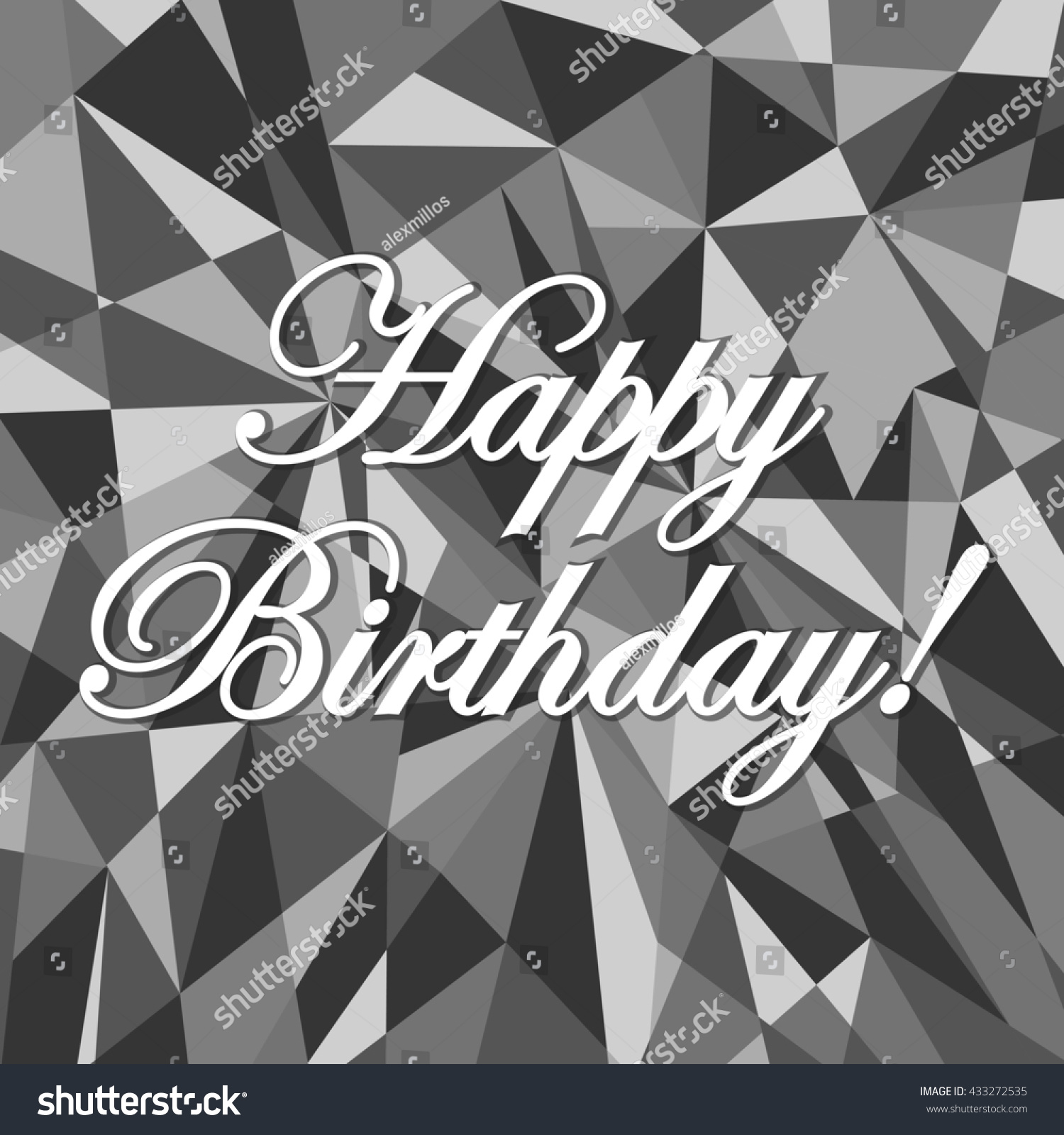 Happy birthday sign in elegant black script type with ornament - Happy Birthday Abstract Grey Card Pattern Illustration Design Graphic Background