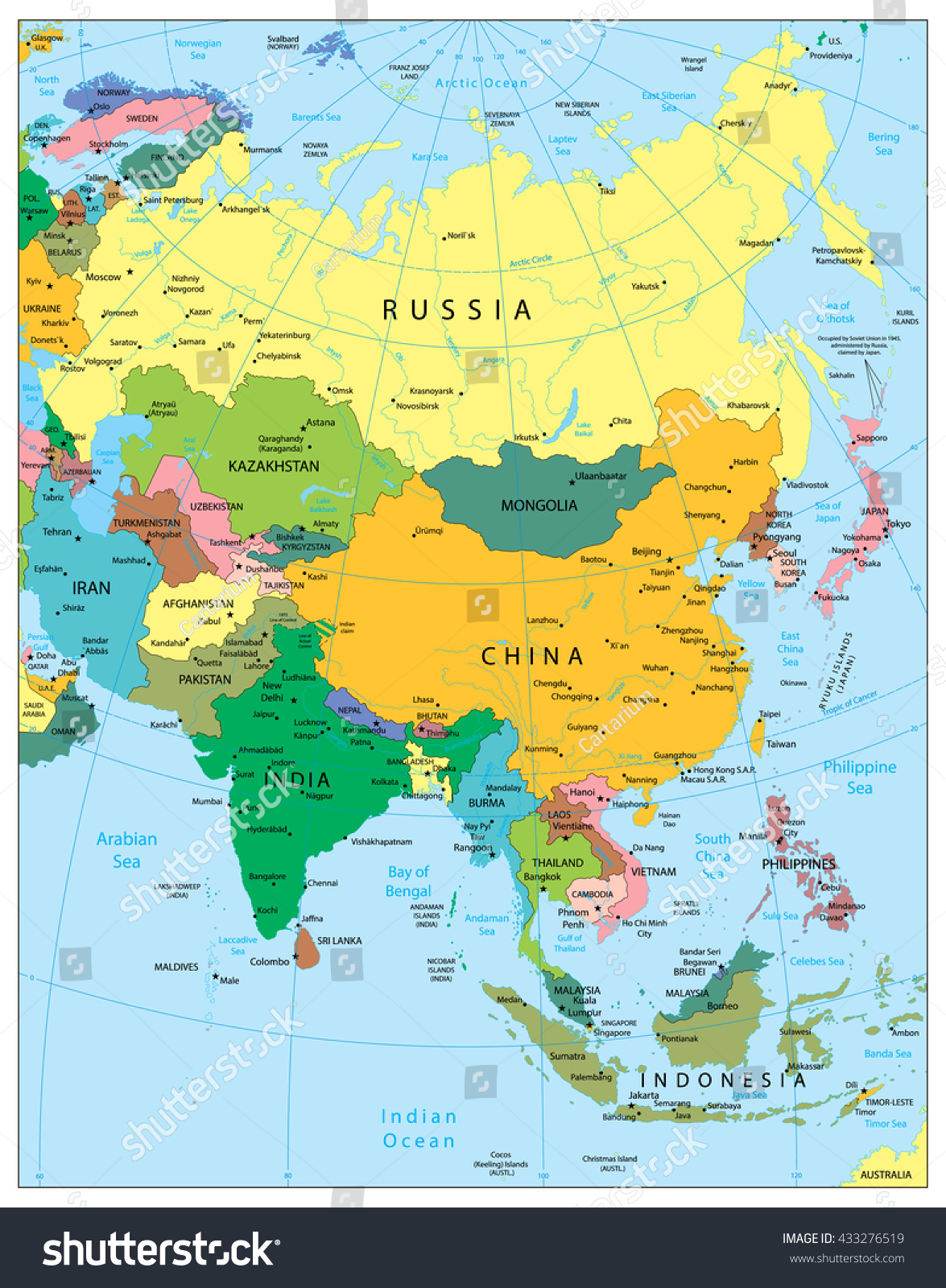 Asia Highly Detailed Political Map Elements Stock Vector - Asia map labeled