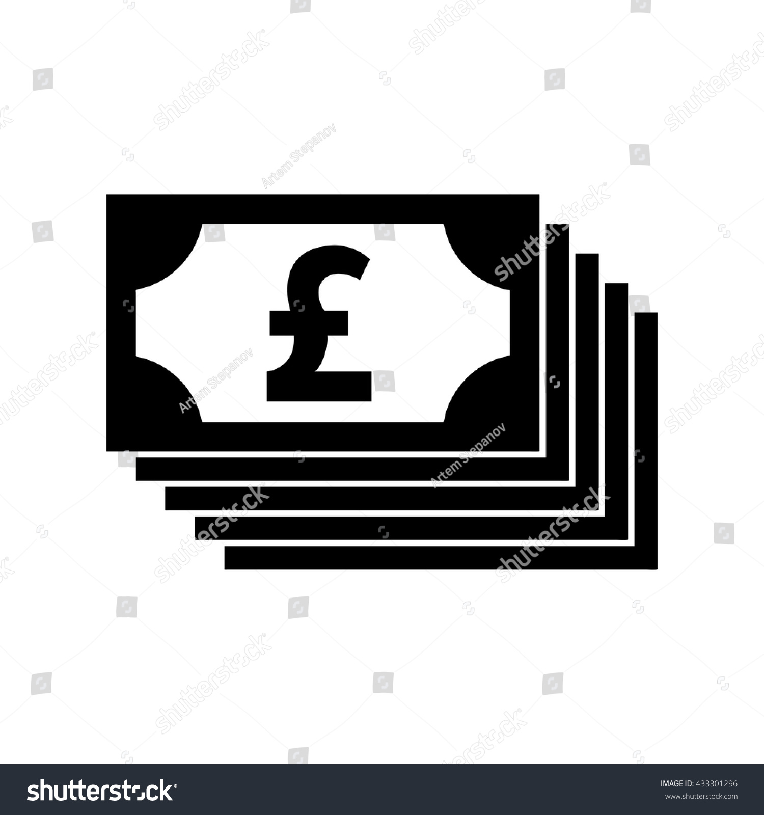 Money Pound Vector Icon Flat Sign Stock Vector Royalty Free
