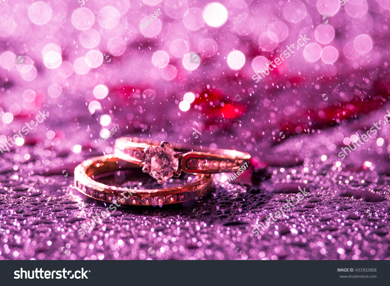 Wedding Engagement Rings Blood Red Background Stock Photo (Edit Now ...