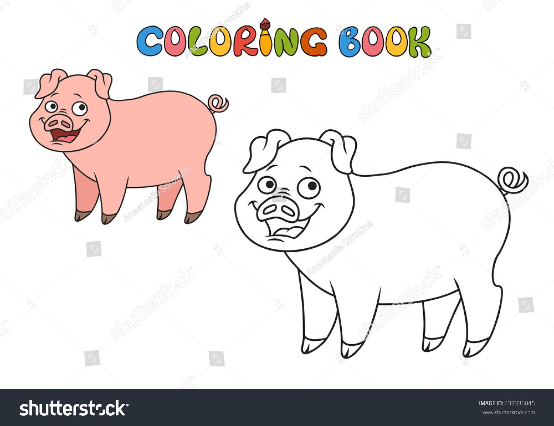 coloring book. vector illustration.farm animals- pig | EZ Canvas