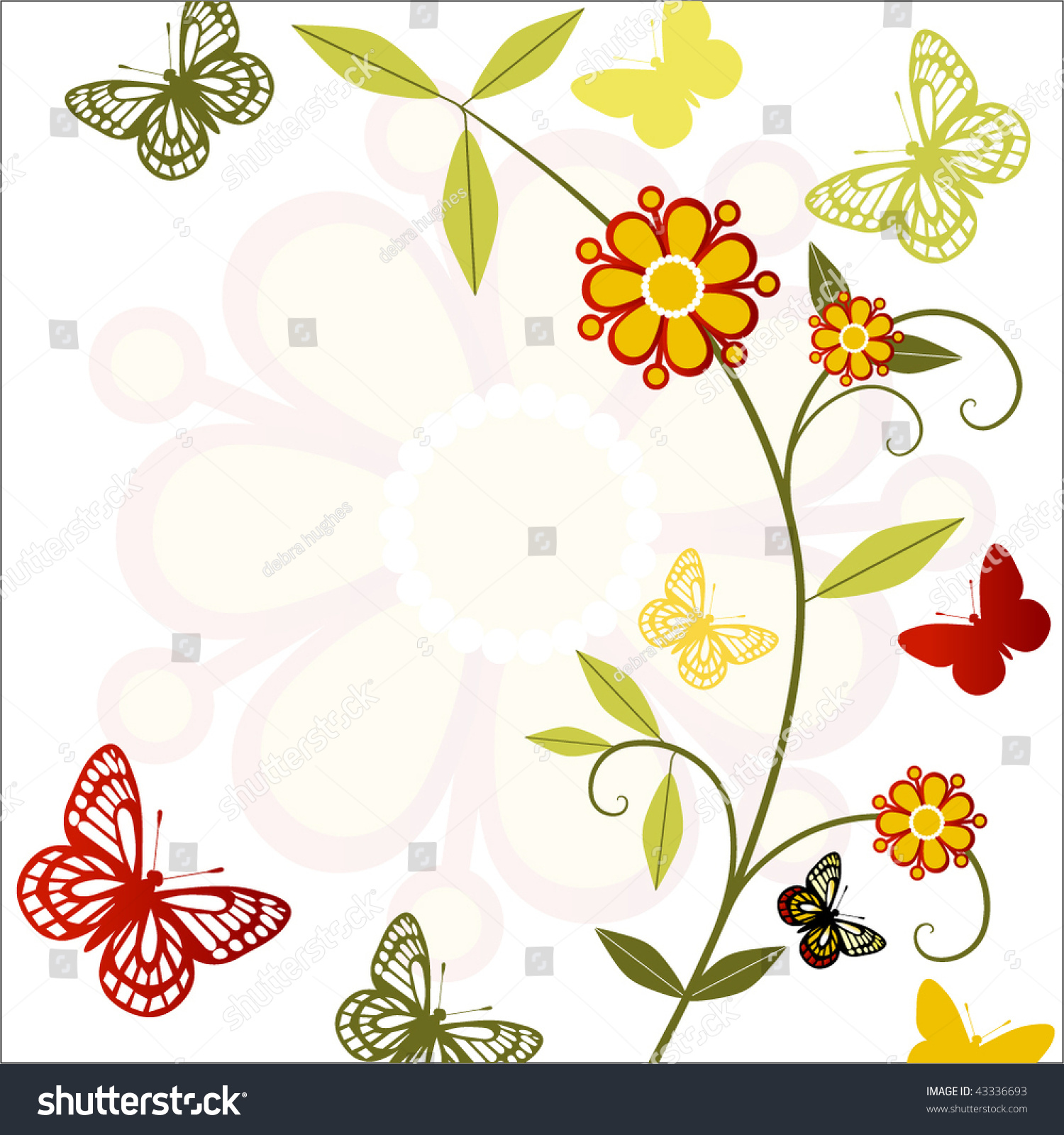 Stem Butterflies Funky Flowers Stock Vector 43336693 - Shutterstock