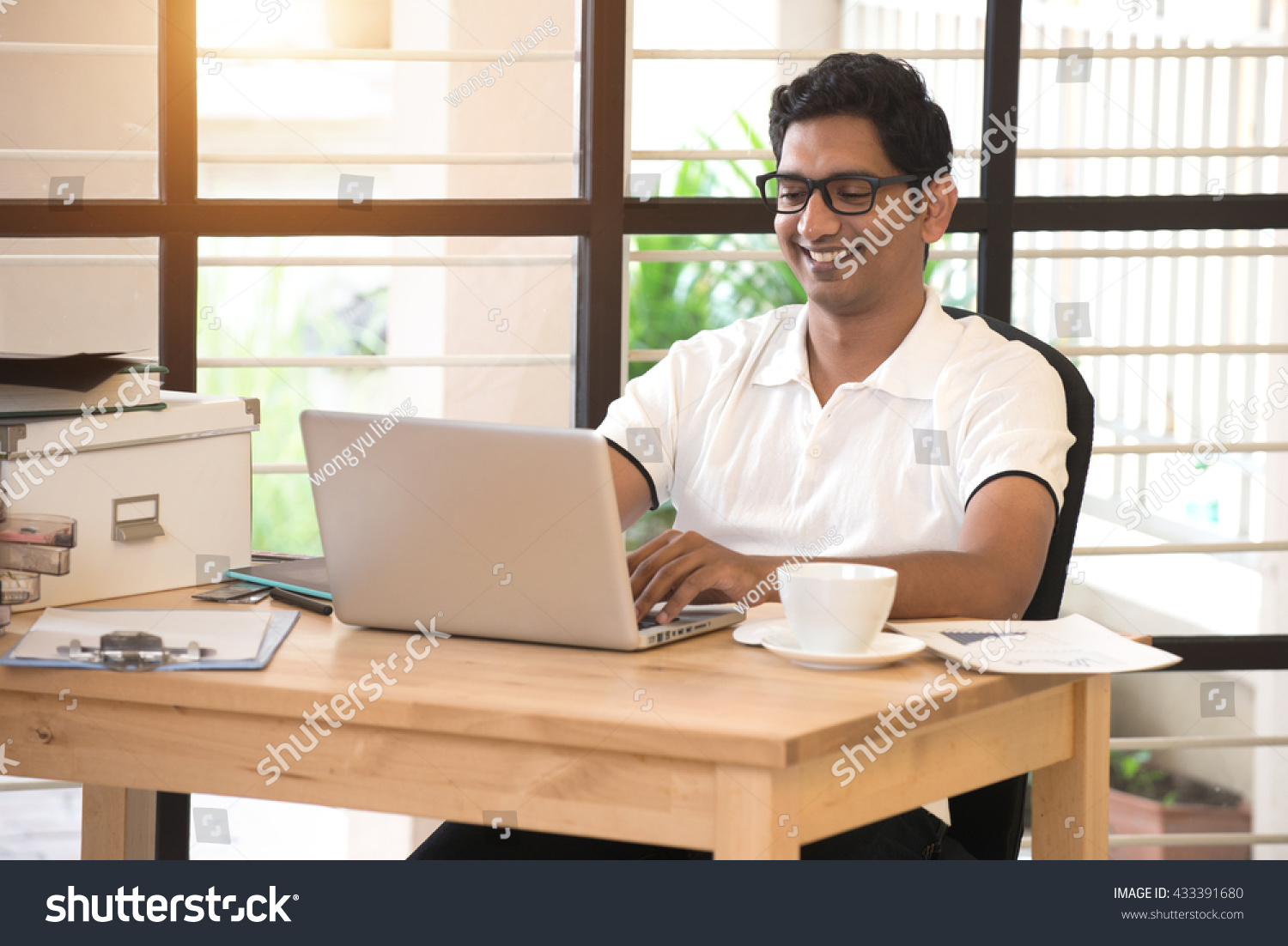 Young Indian Man Working Home Office Stock Photo 433391680