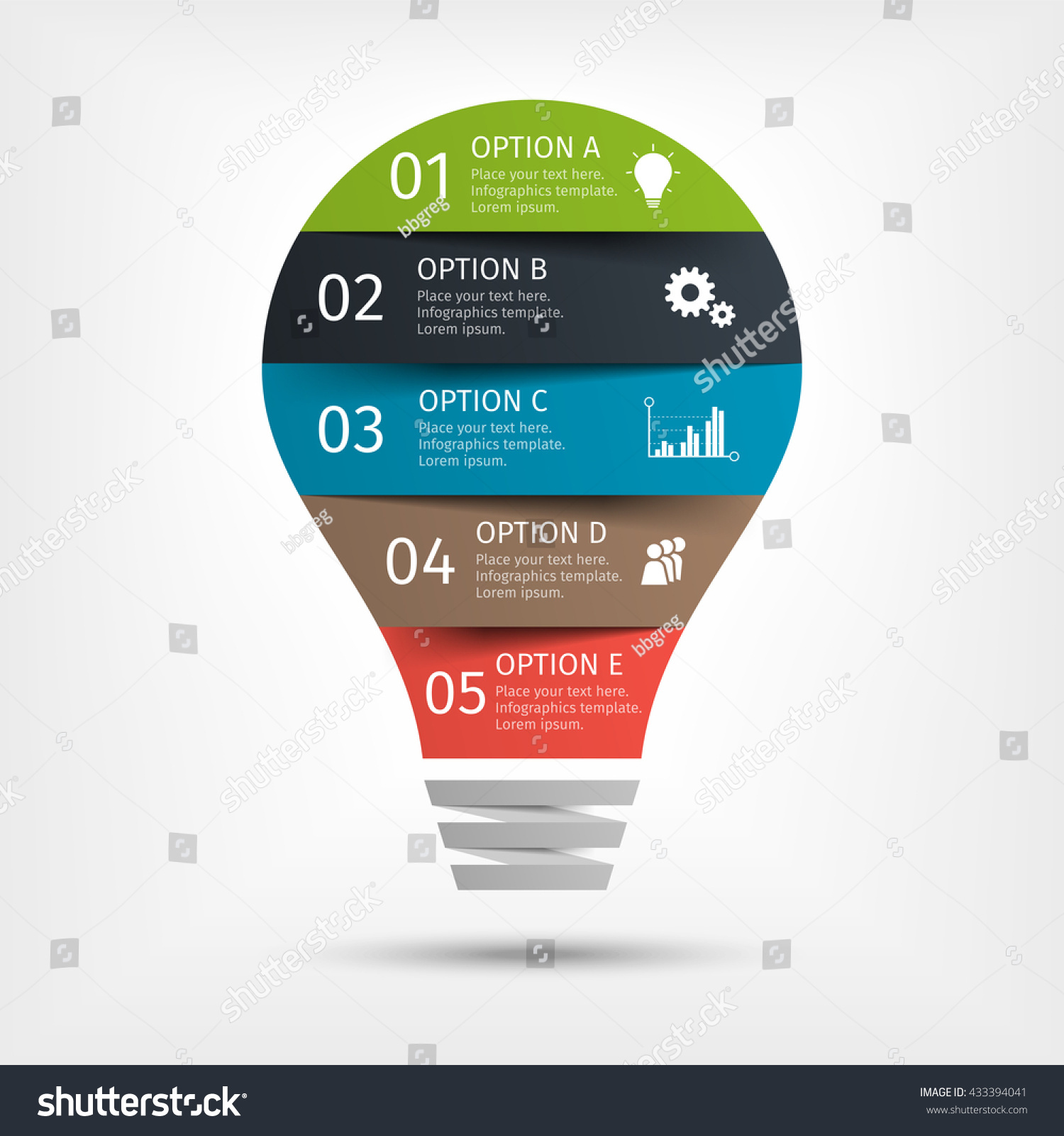 modern light bulb infographic template presentation stock vector, Presentation templates