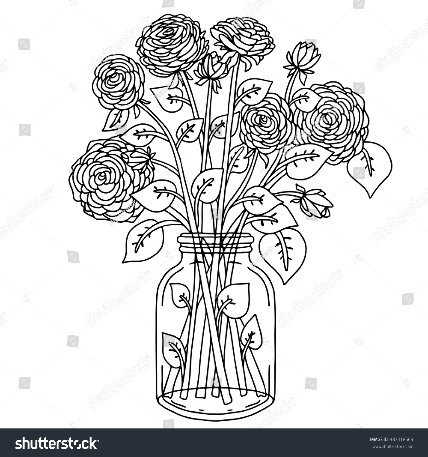 Bouquet Flowers Vase Hand Drawn Black Stock Vector 433418569 ...