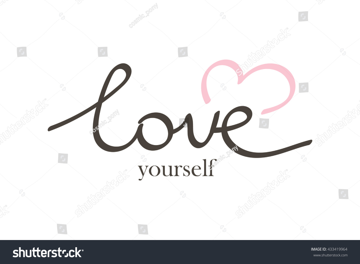 Vector hand drawn lettering phrase love stock vector 433419964 vector hand drawn lettering phrase love yourself quote love yourself with heart symbol isolated on buycottarizona