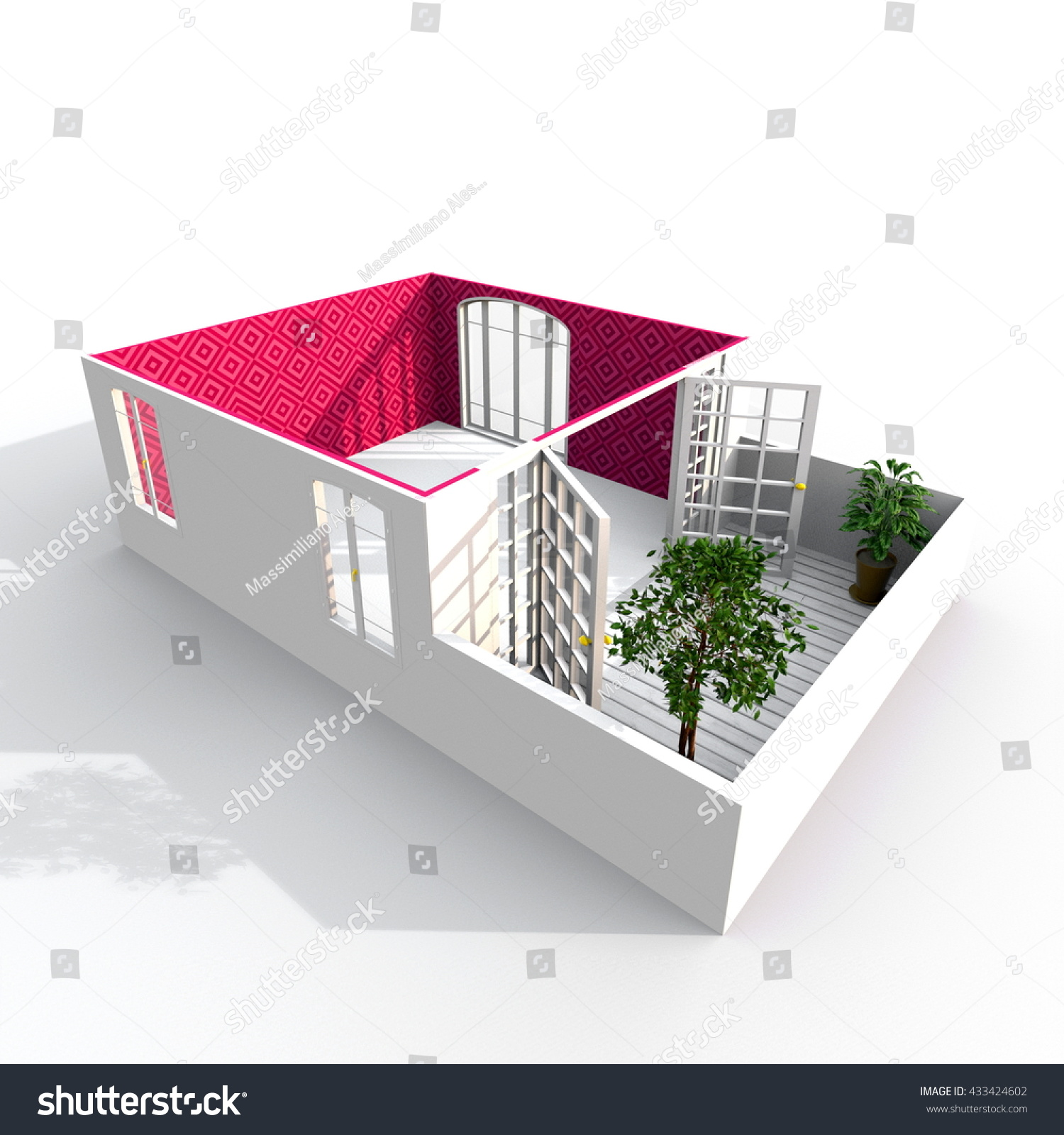 3d interior rendering perspective view empty stock illustration