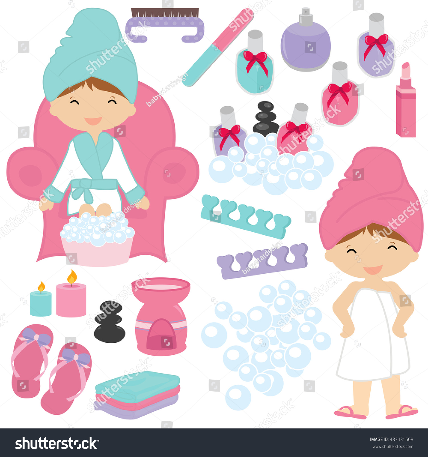 Set Of Colorful Spa Logo Vectors: Illustration Little Girls Being Pampered Spa Stock Vector
