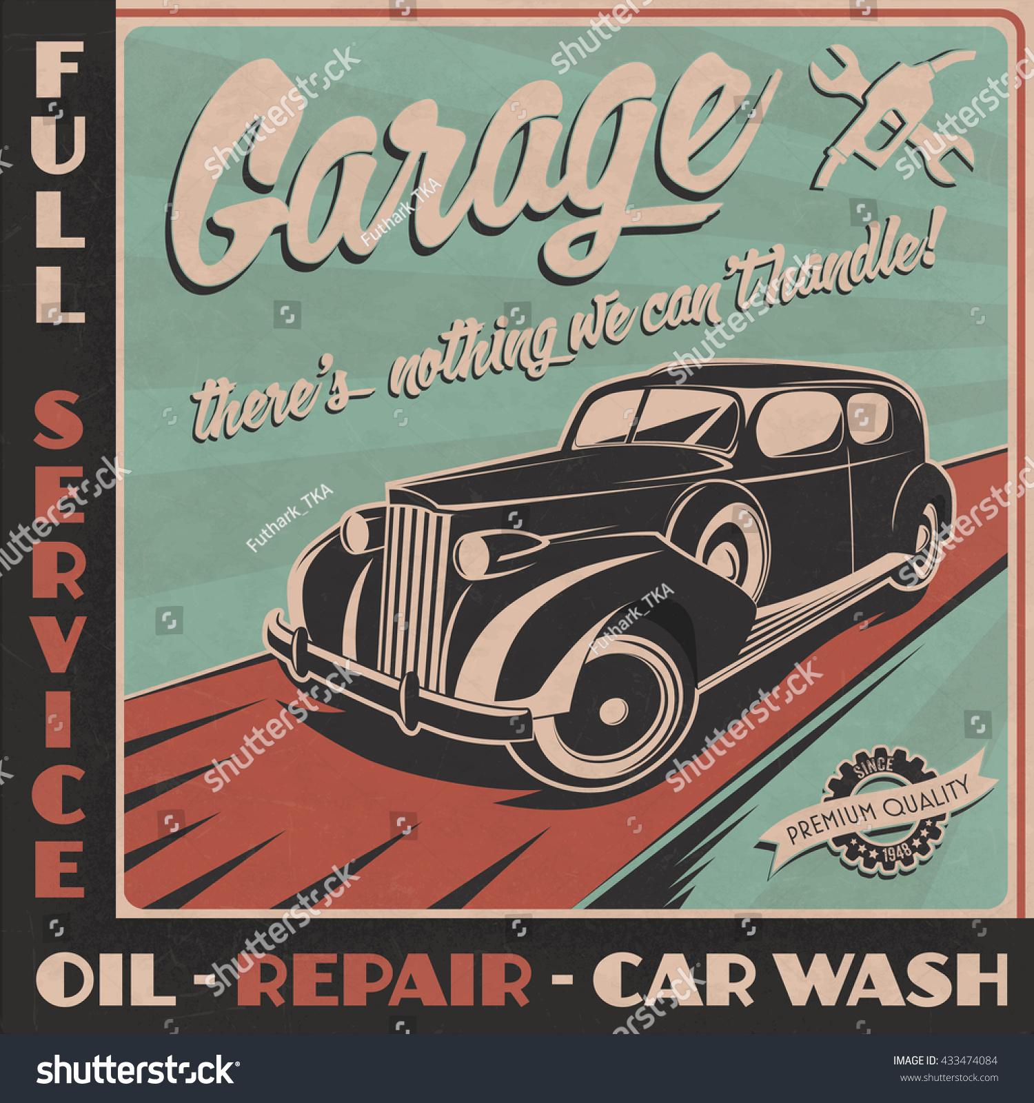 Vintage Automotive Signs For Garage : Garage sign retro style vintage car stock vector