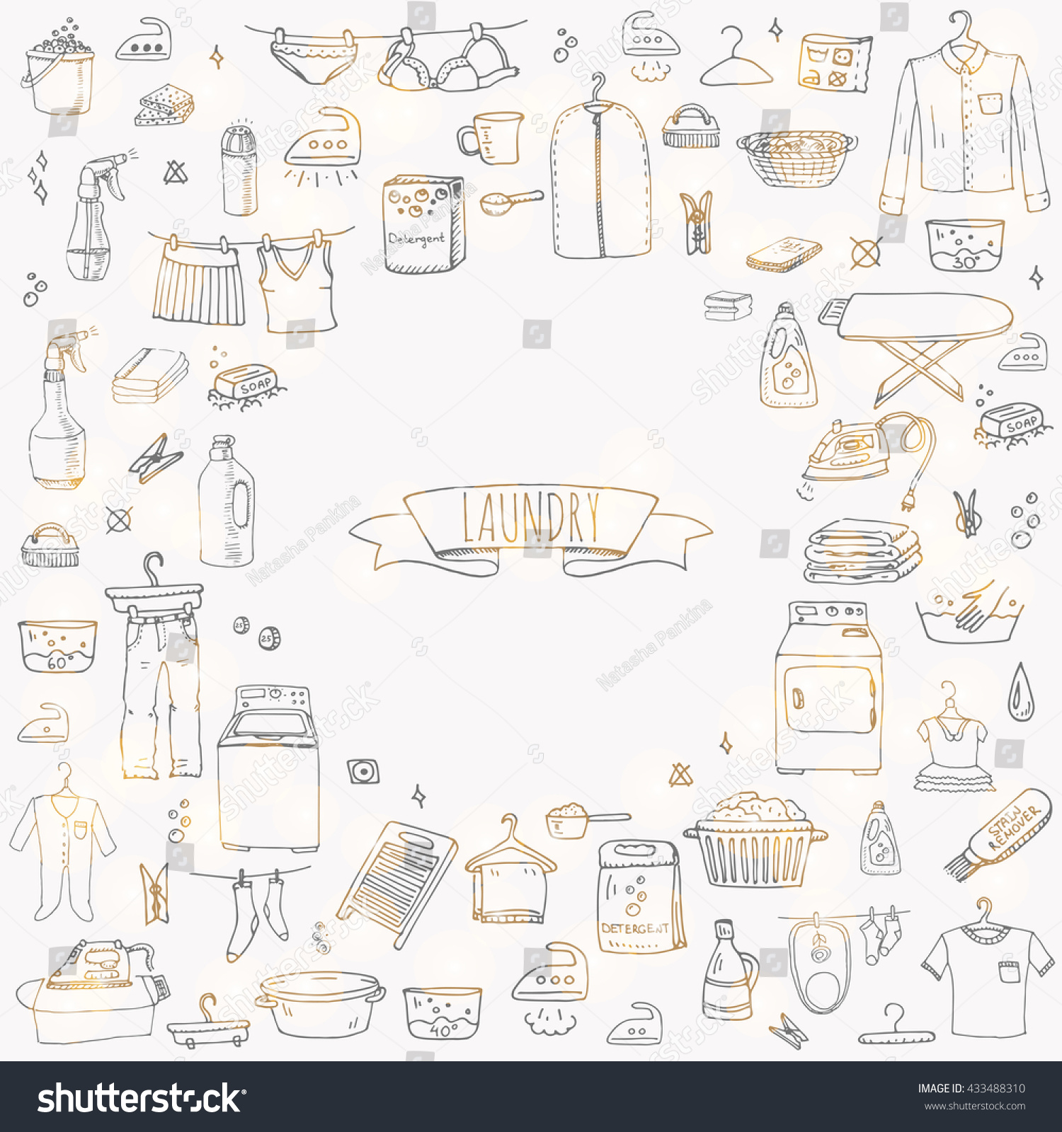 Hand Drawn Doodle Laundry Set Vector Stock Photo Photo Vector