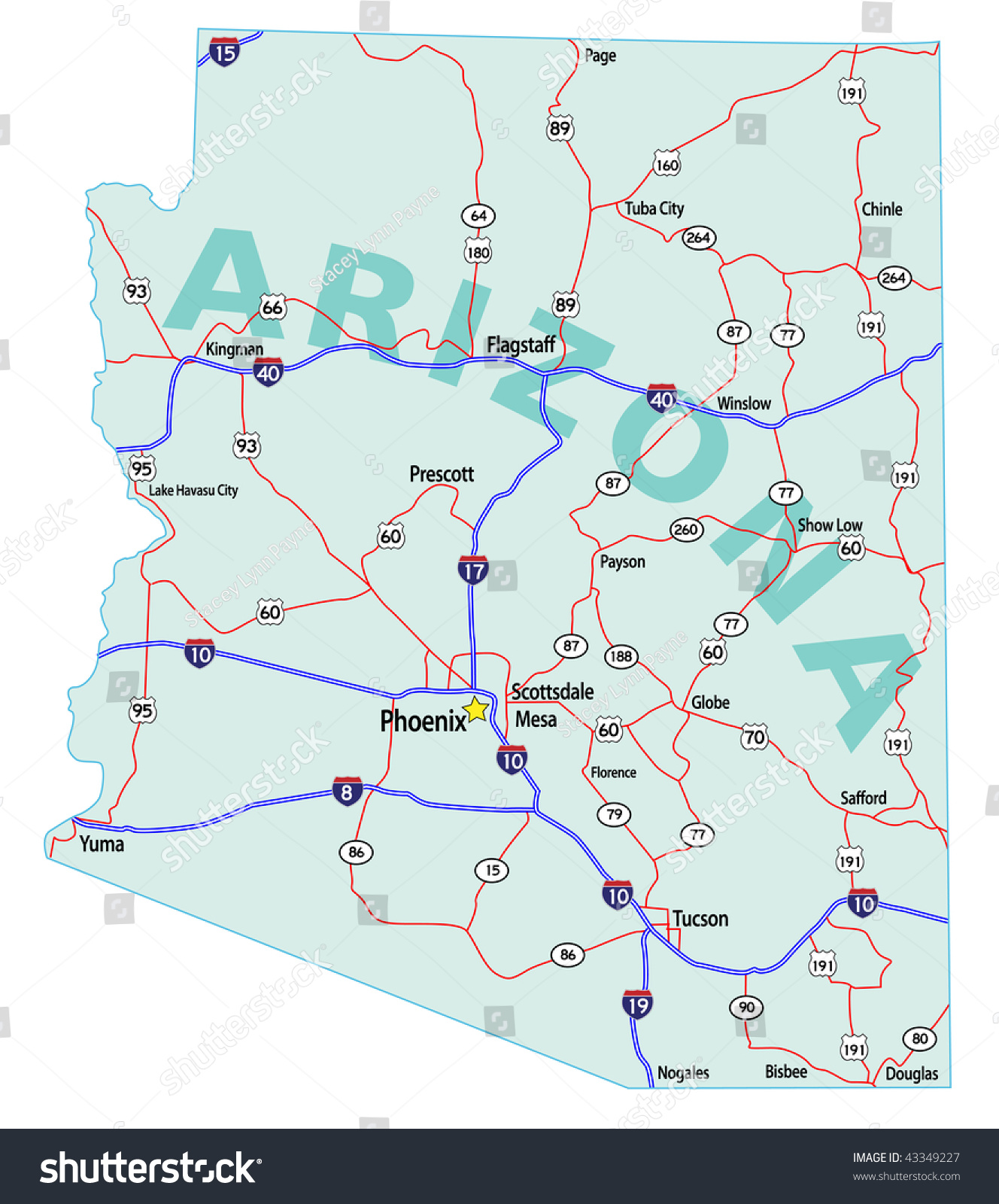 Arizona State Road Map Interstates Us Stock Vector - Map of usa us highways