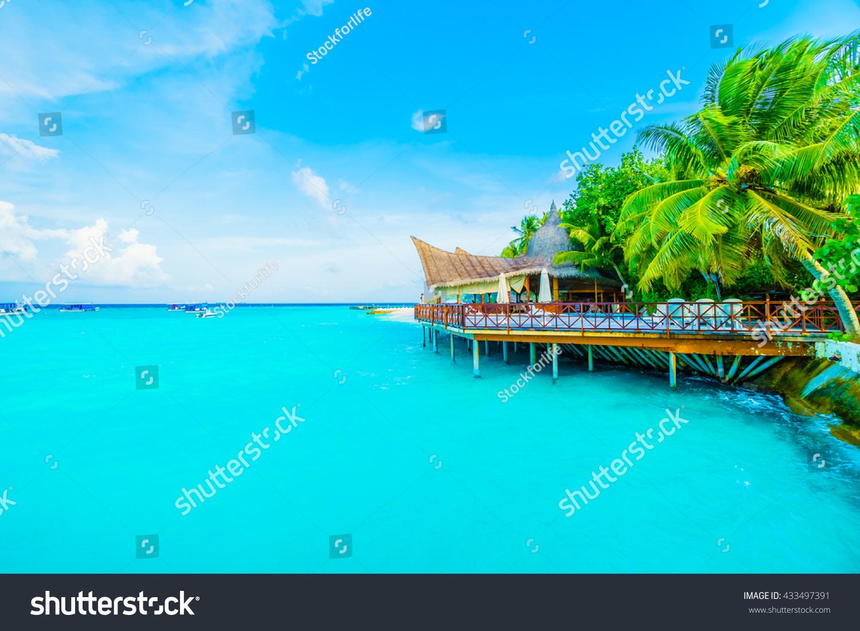 beautiful tropical maldives resort hotel island stock. Black Bedroom Furniture Sets. Home Design Ideas