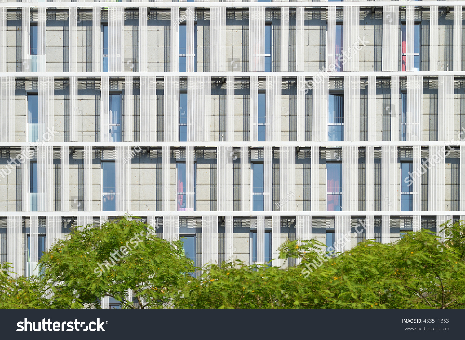office building facade. Modern Office Building Facade Throw Some Trees. Architecture Background. C